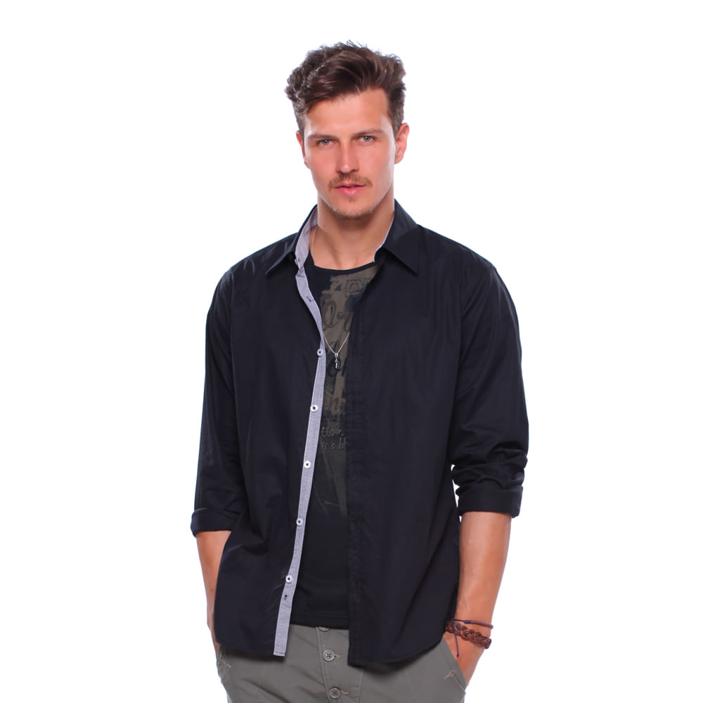 Camisa social masculina damyller for Jardineira masculina c a