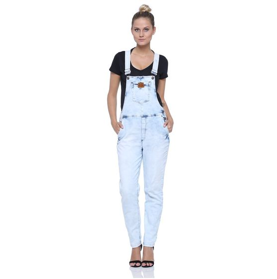 Jardineira feminina jeans damyller for Jardineira jeans feminina c a