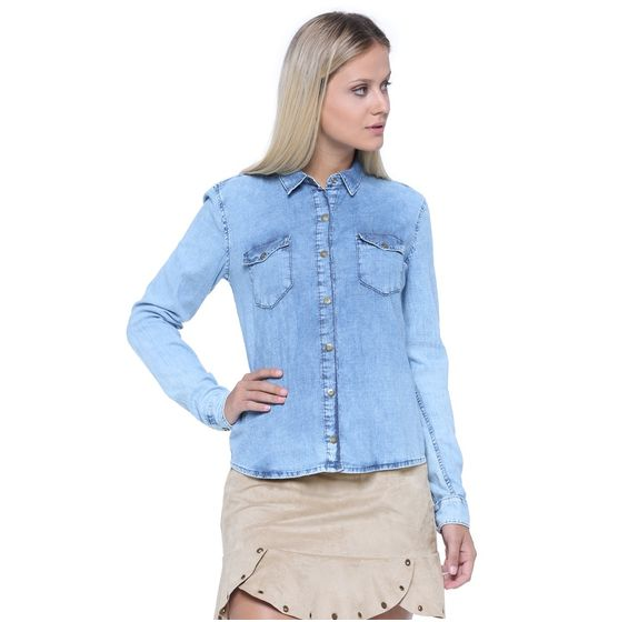 Camisa Feminina Manga Longa Jeans