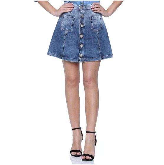 Saia Jeans Abotoamento Frontal