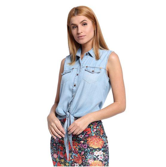 Camisa Feminina Jeans sem Manga