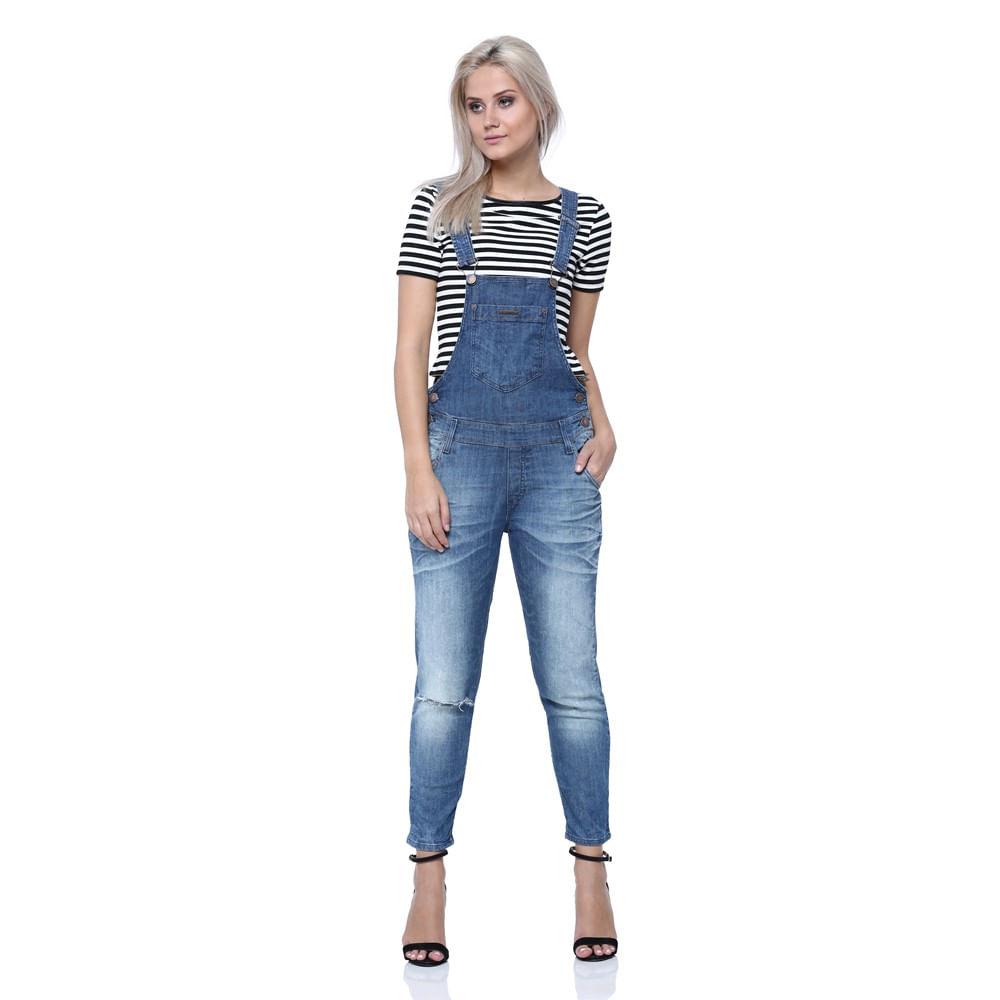 Jardineira cropped feminina damyller for Jardineira jeans feminina c a