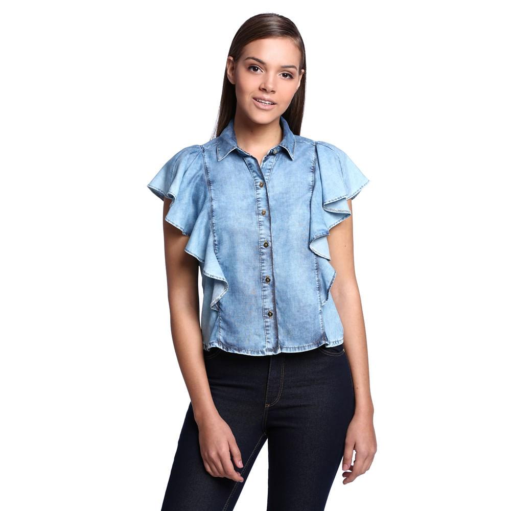 Camisa Jeans Babados