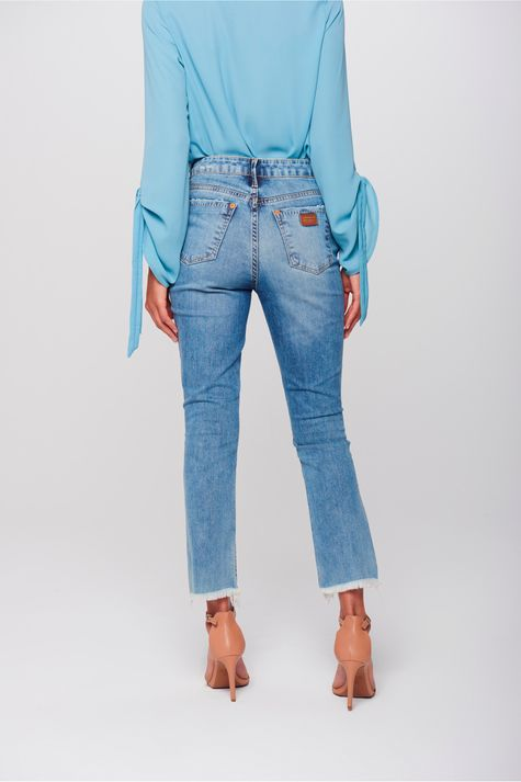 Calça Cropped Jeans Destroyed Feminina - Damyller bb63e7c388f