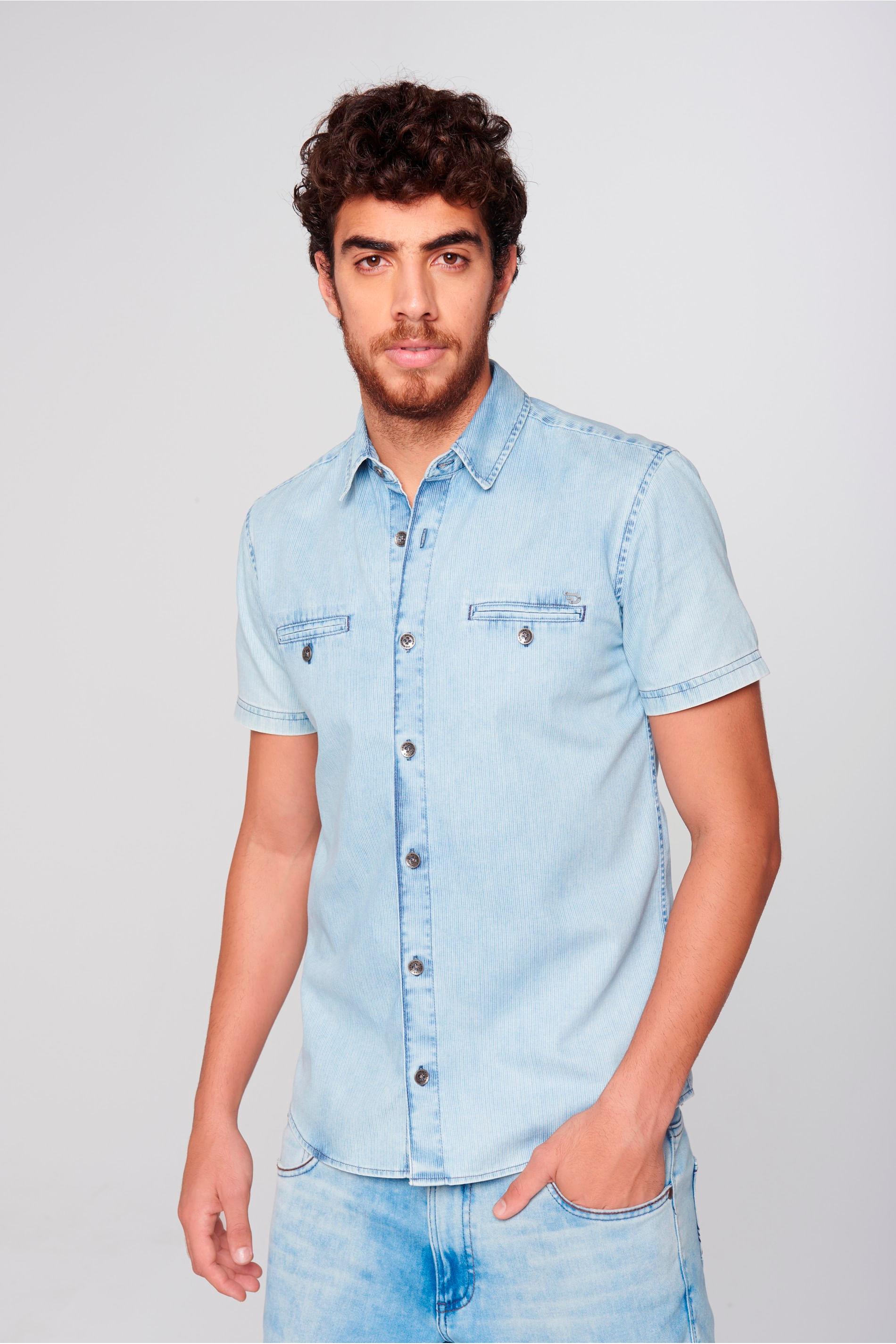 c63dd51993b52 Camisa Jeans Manga Curta Masculina - Damyller