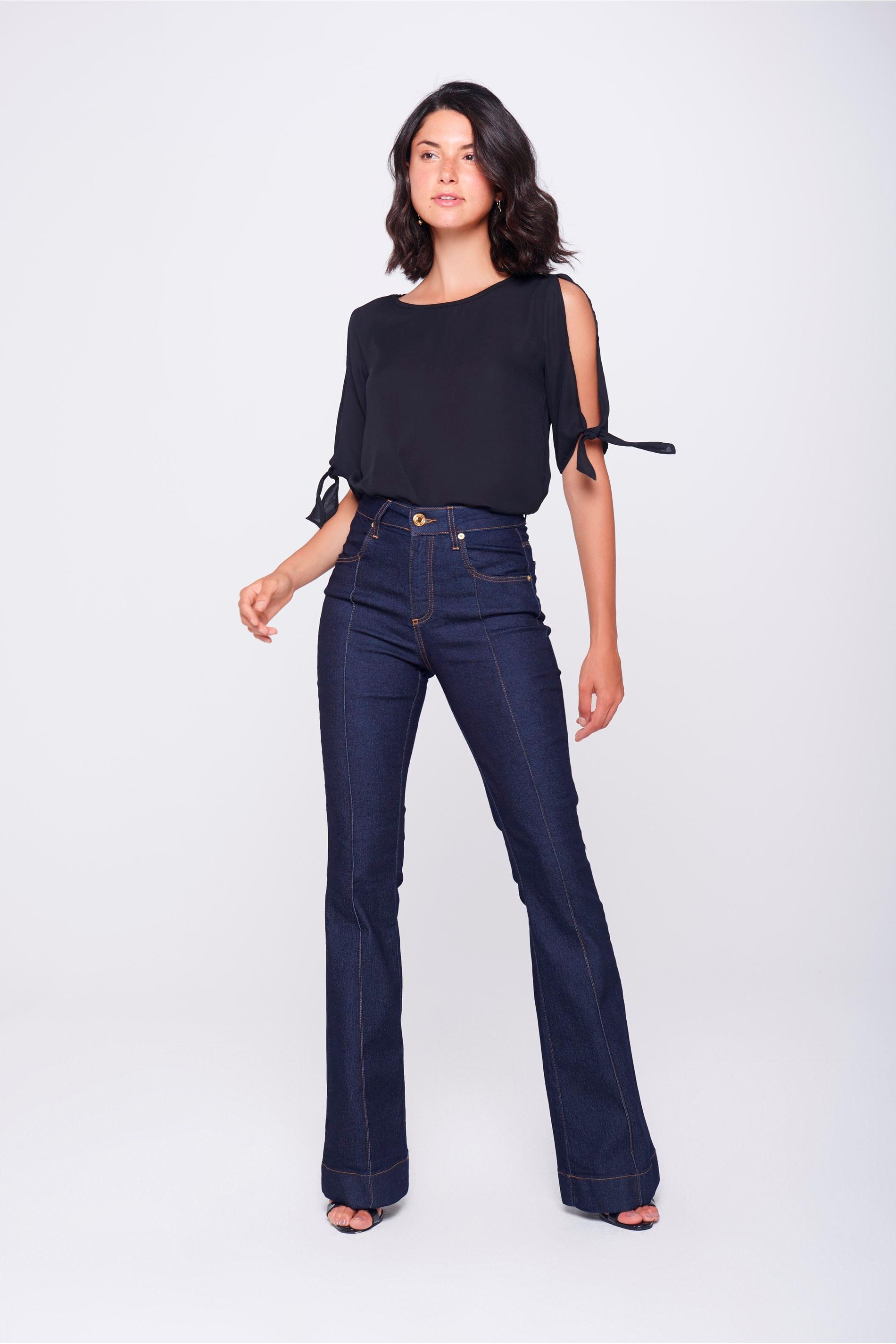 d120290771 Calça Boot Cut Jeans com Friso - Damyller