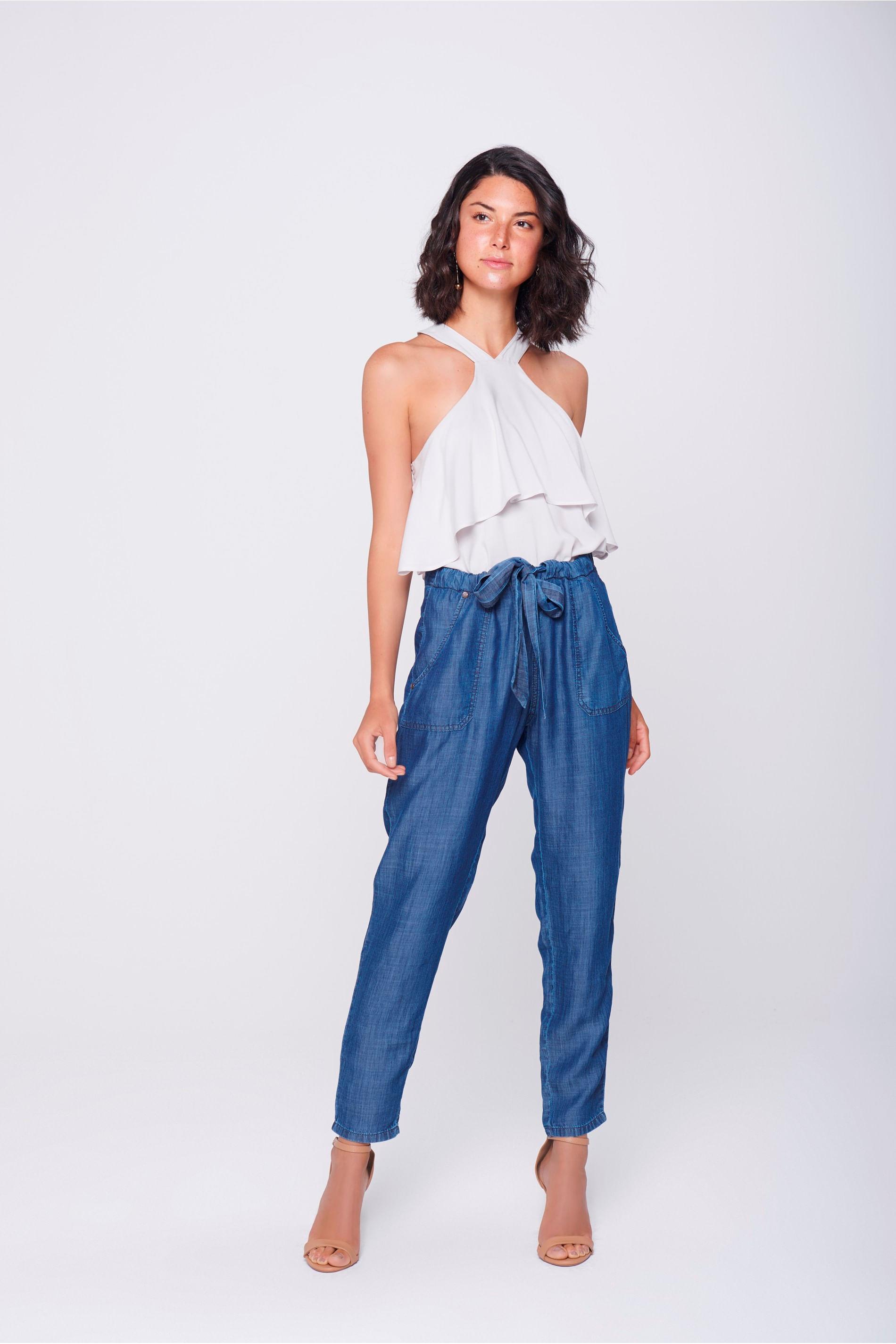 Calça Jeans Saruel Cropped Feminina - Damyller 93133ab12ec10
