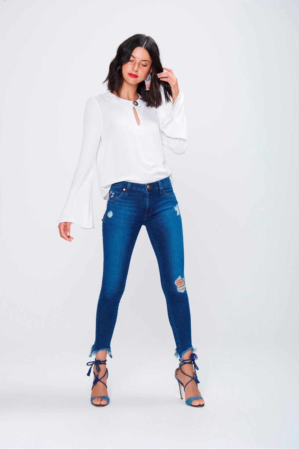 59b18aad8 Calça Jegging Jeans Cropped Destroyed - Damyller