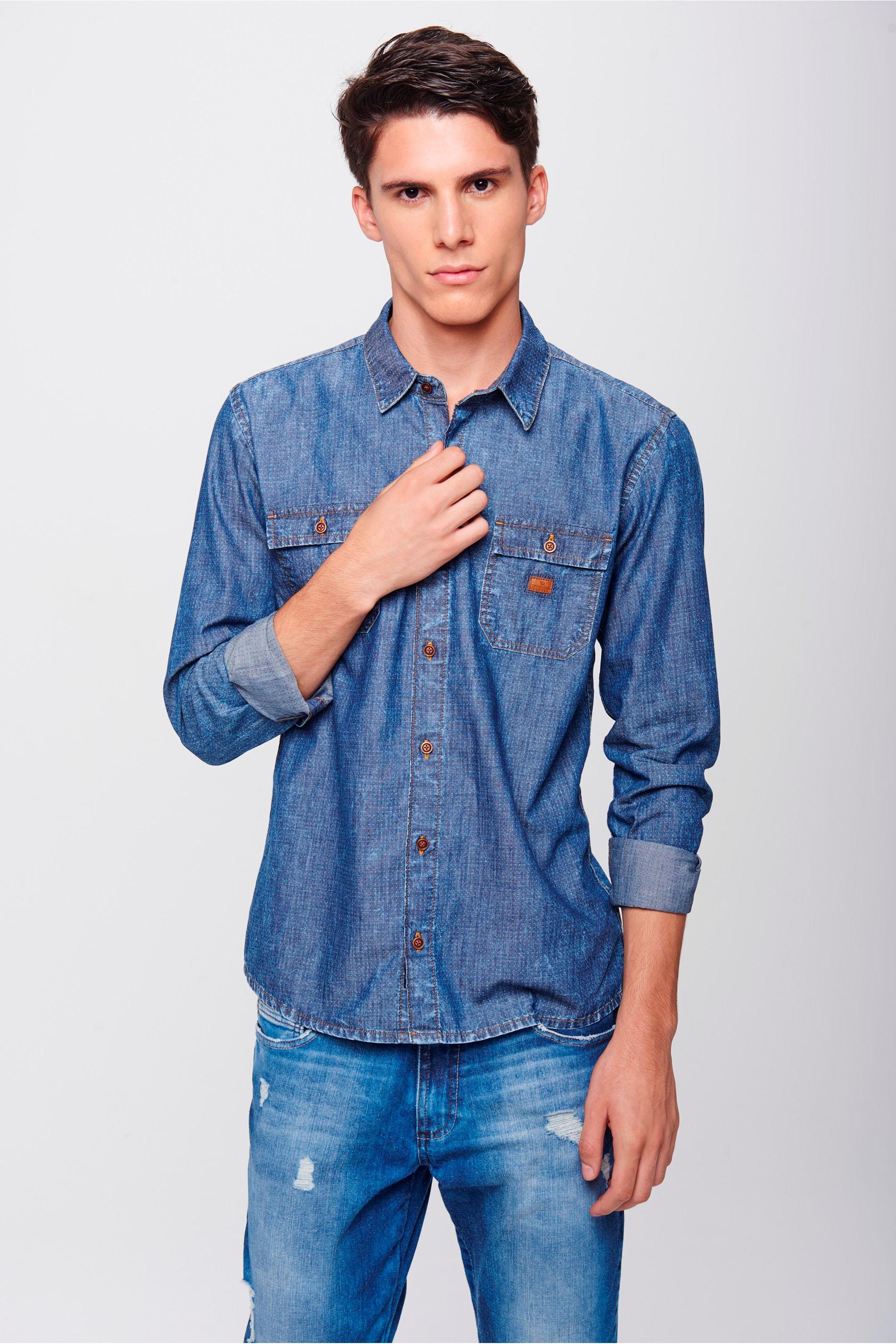 Camisa Jeans Masculina - Damyller 3437aa24ef