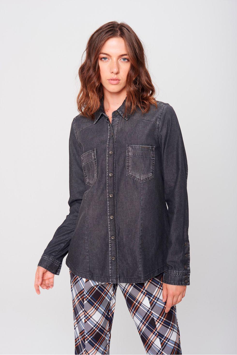 361812cb3f Camisa Jeans Feminina - Damyller