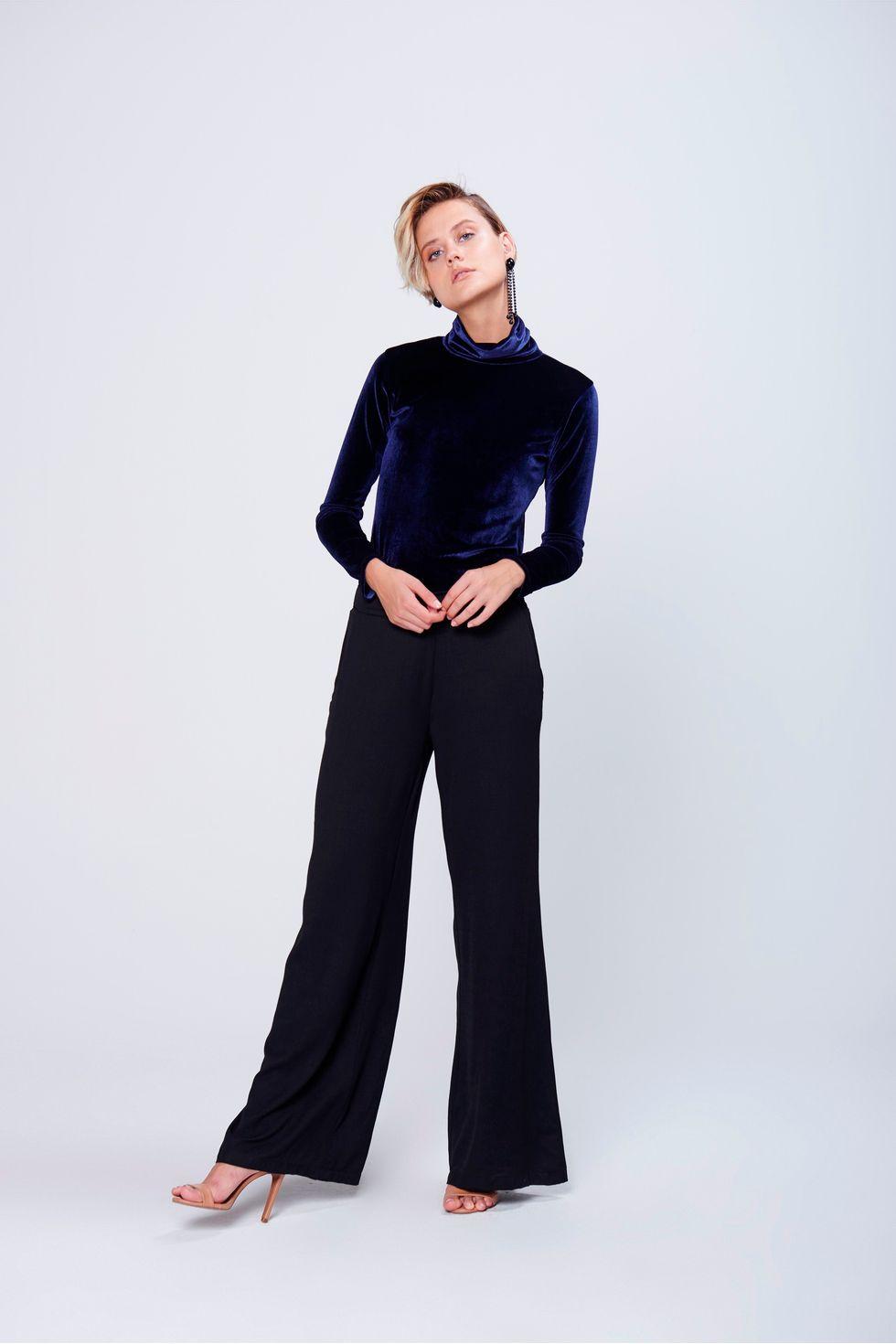 15e500435 Calça Pantalona Color Cintura Alta - Damyller