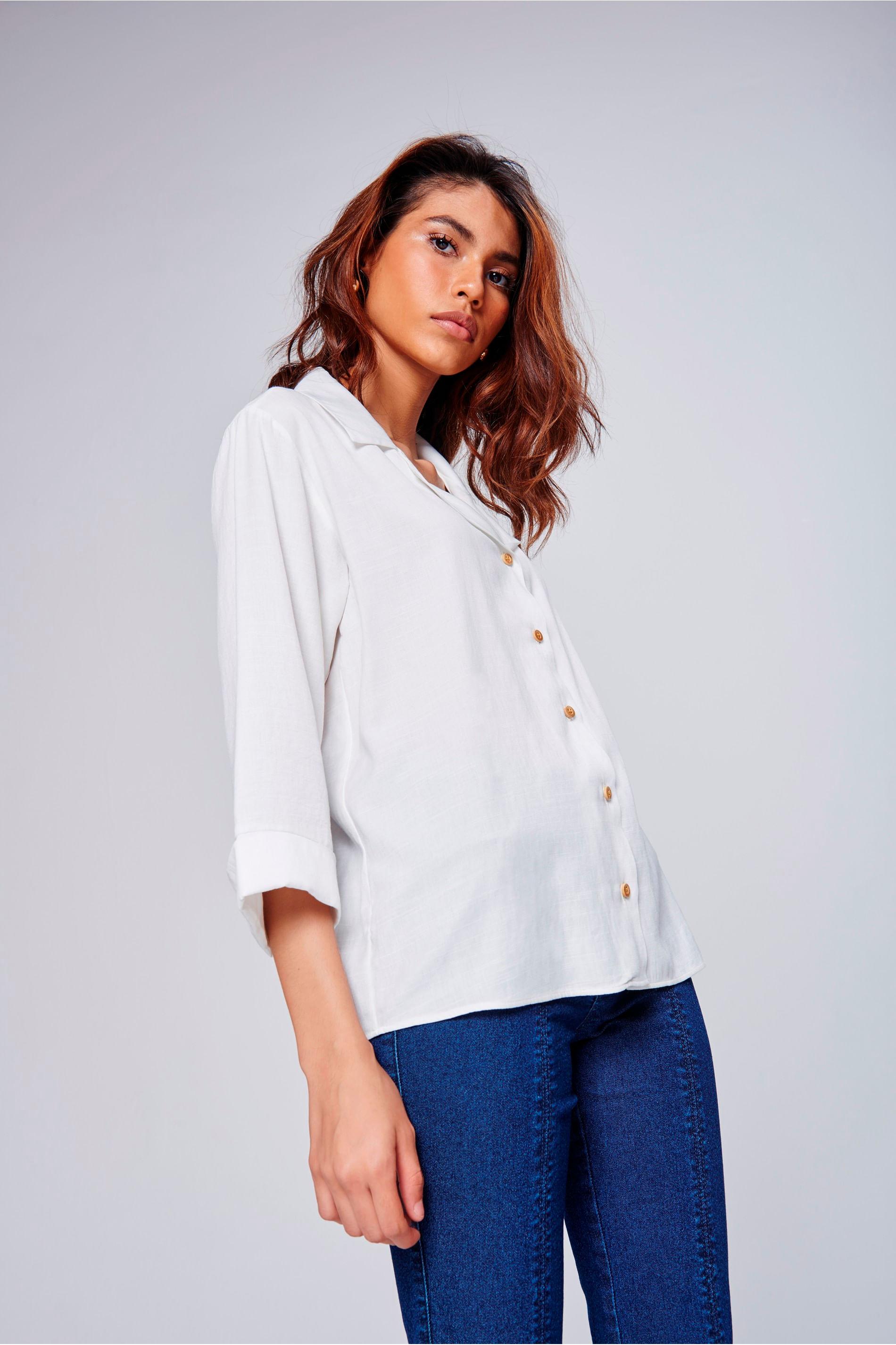 52ac91532f Camisa Social Feminina - Tam  PP   Cor  OFF-WHITE