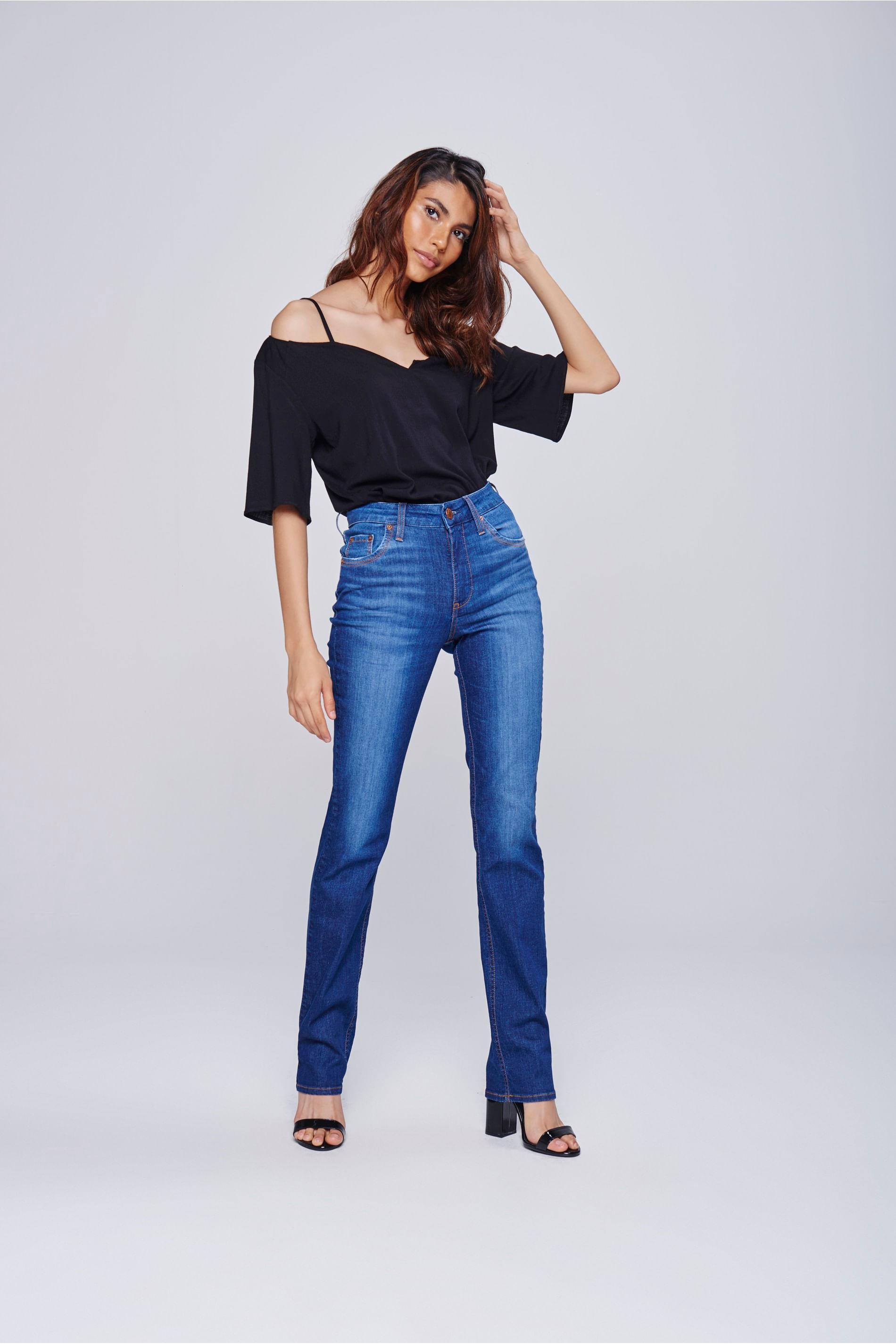 66e7626f00 Calça Jeans Reta com Cintura Alta - Damyller