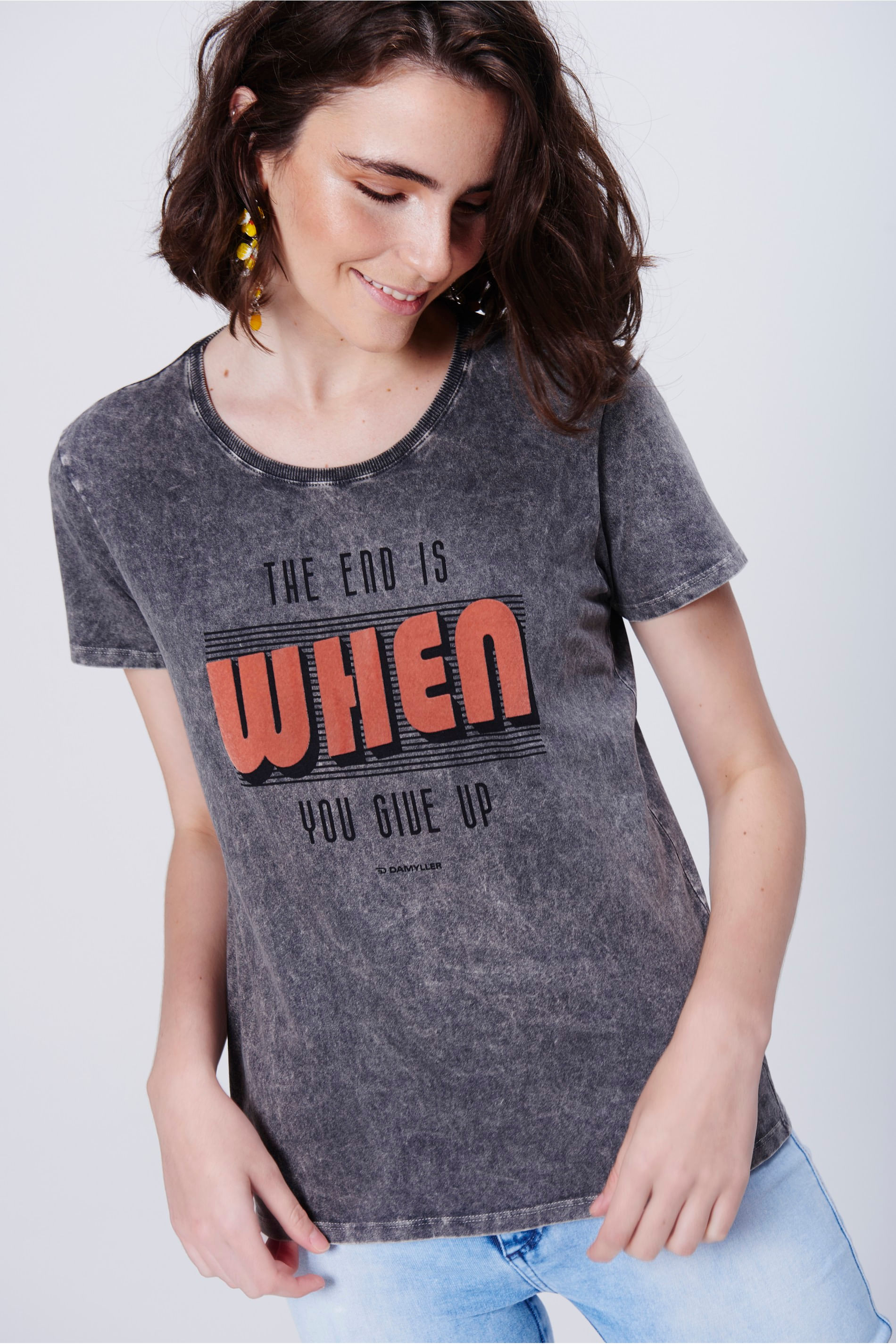 Camiseta Feminina Marmorizada - Damyller 72607b0eac4