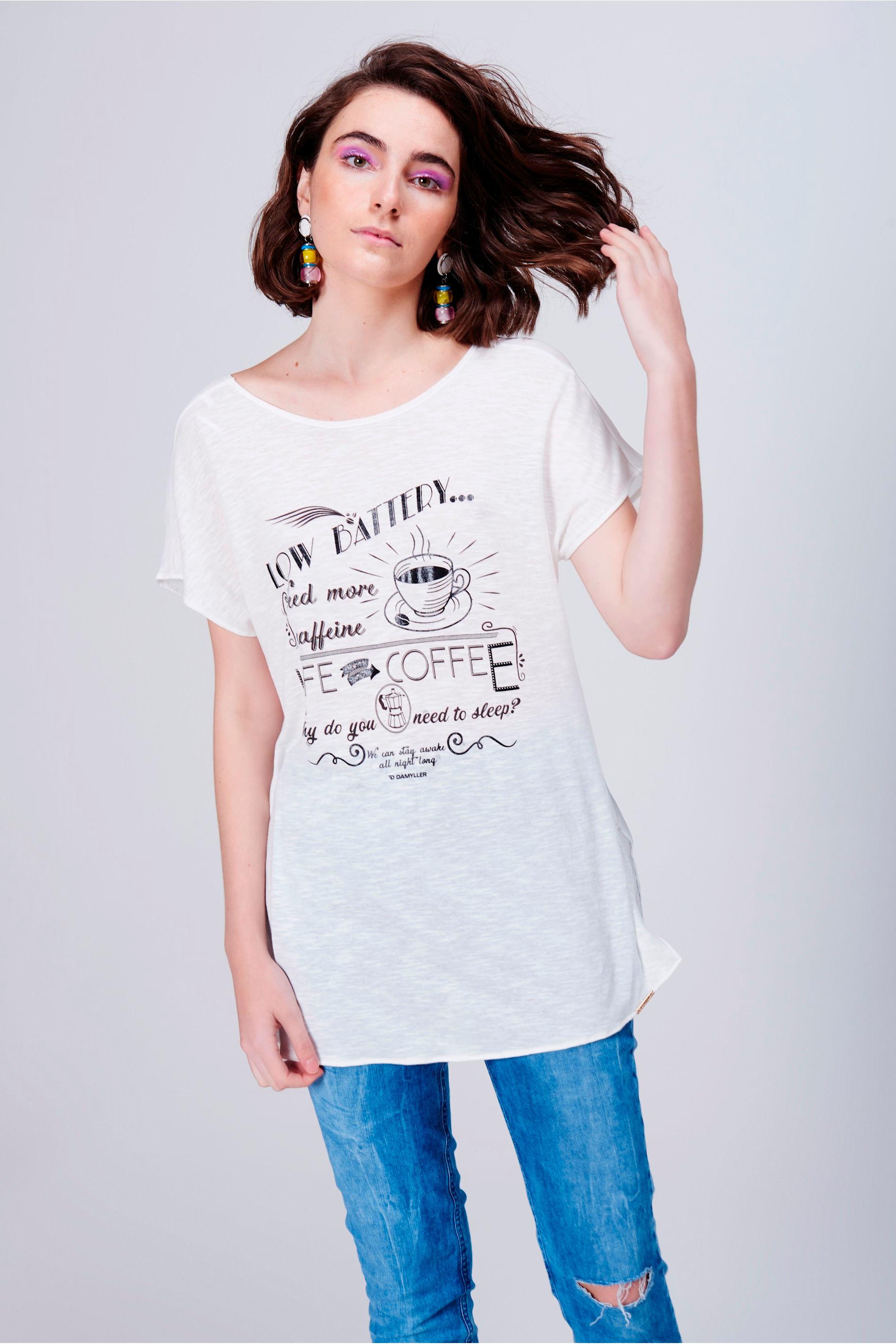 Camiseta Estampada Decote Costas - Damyller 355ca4e650bd6
