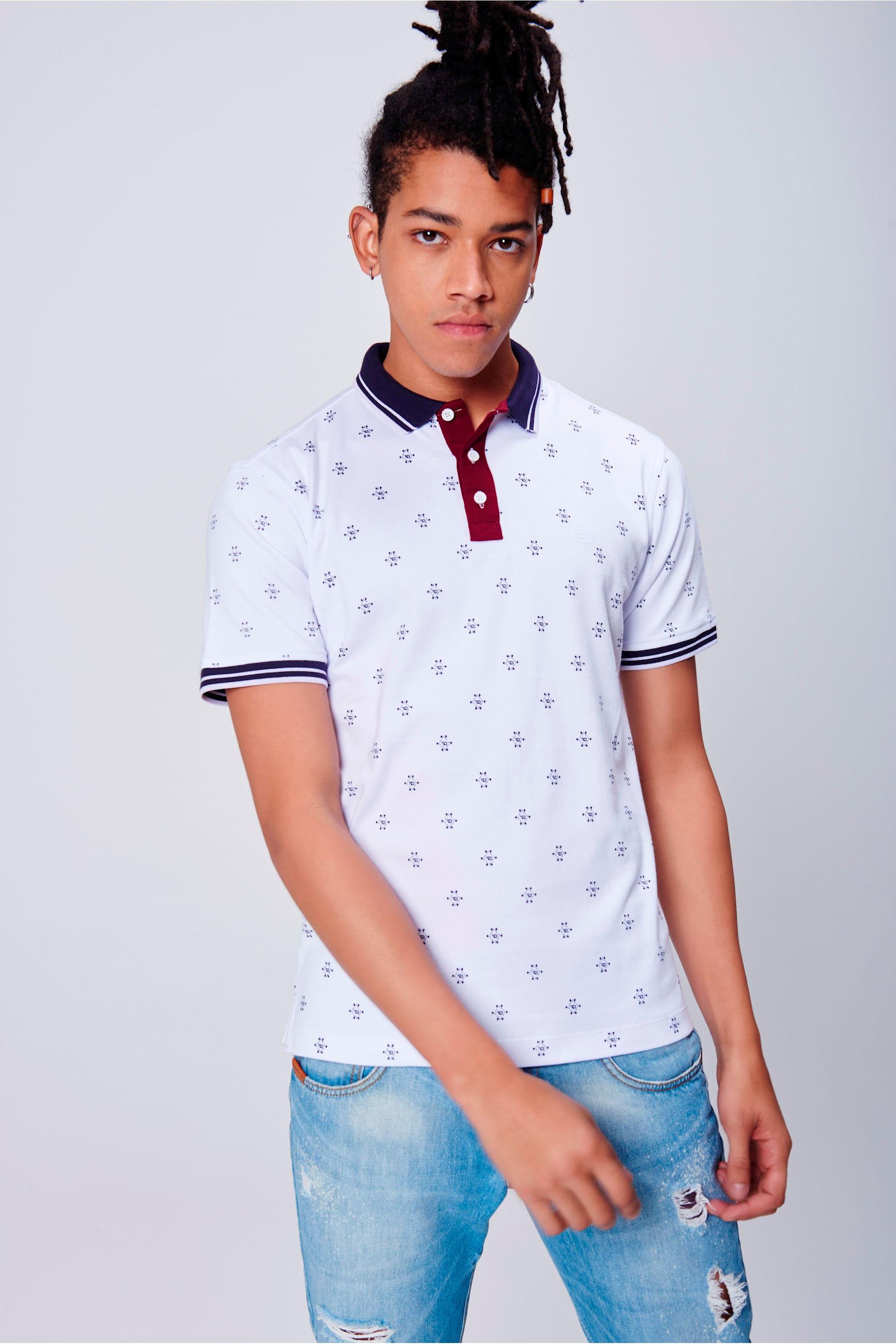236e060afb Camisa Gola Polo Estampada - Damyller