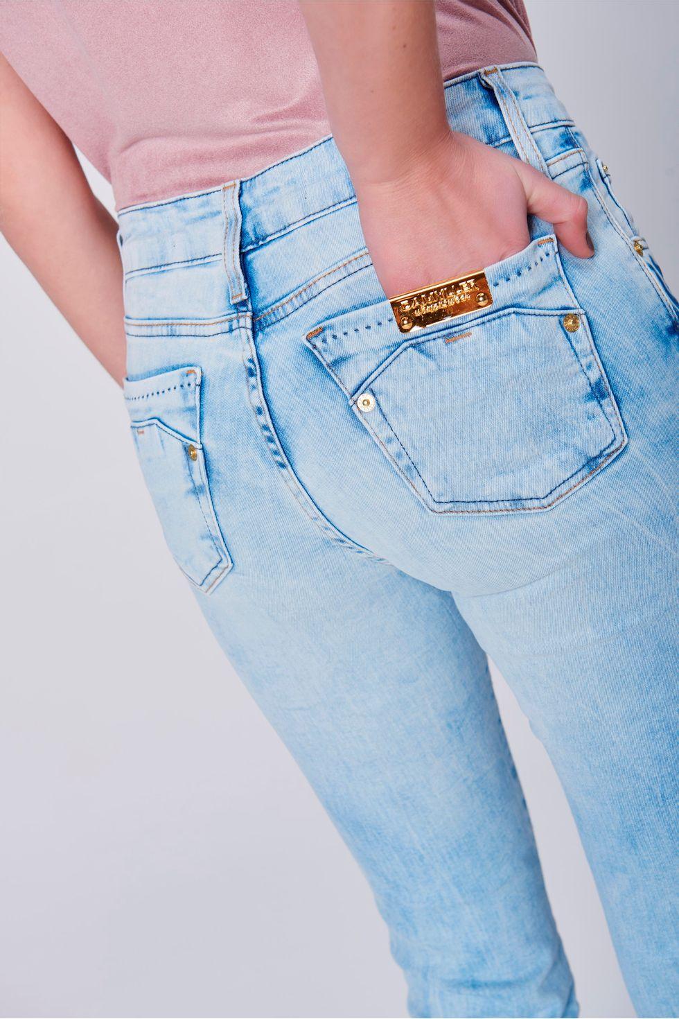 f58477c7e Calça Jeans Reta Feminina - Damyller