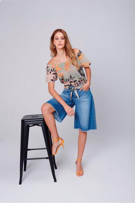Bermuda-Feminina-Jeans-Cinto-de-Lenco-Frente--