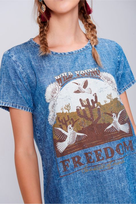 Camiseta-Feminina-Jeans-Estampa-Freedom-Frente--