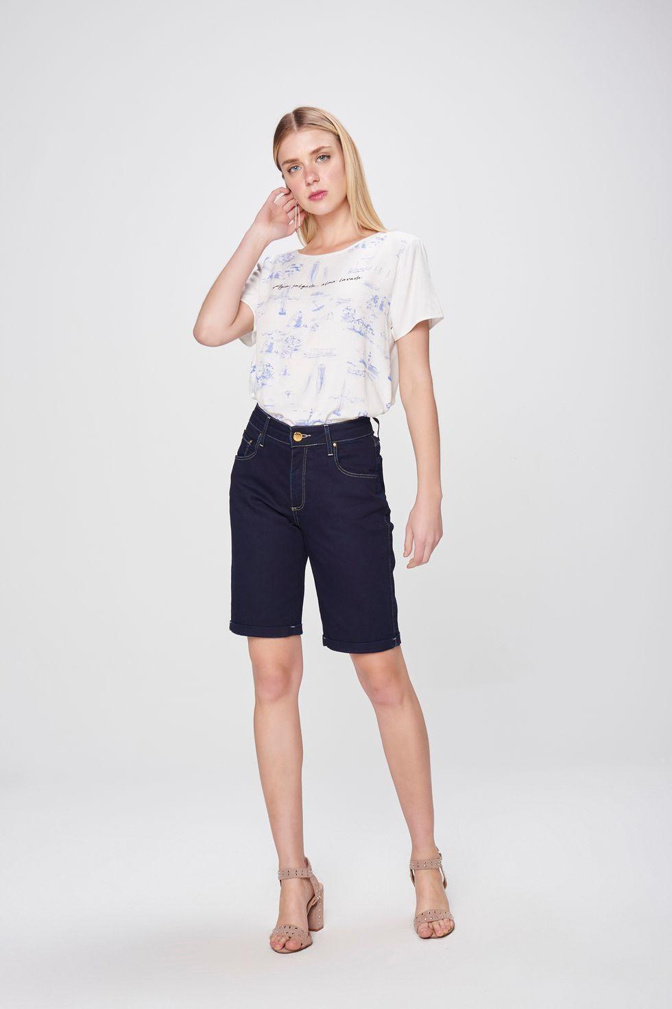 180ecd612 Bermuda Jeans Cintura Alta Feminina - Damyller