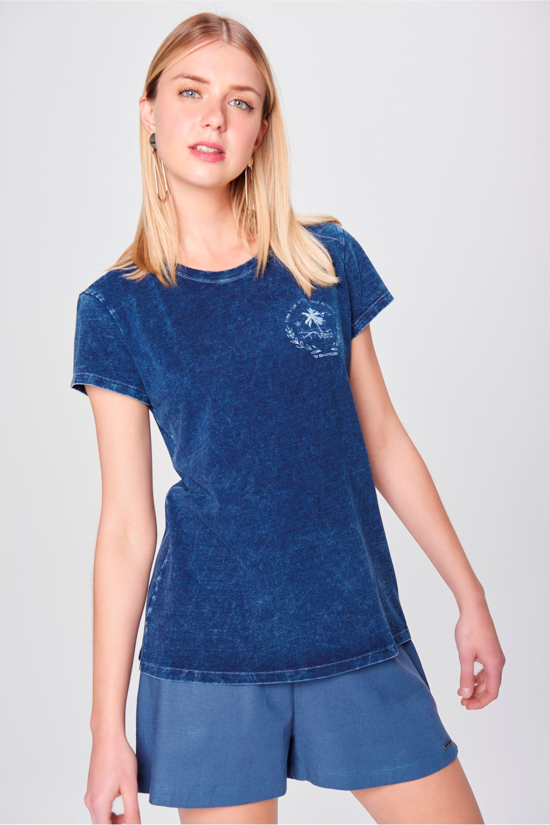 Camiseta de Malha Denim Feminina - Damyller 878f534e435b9