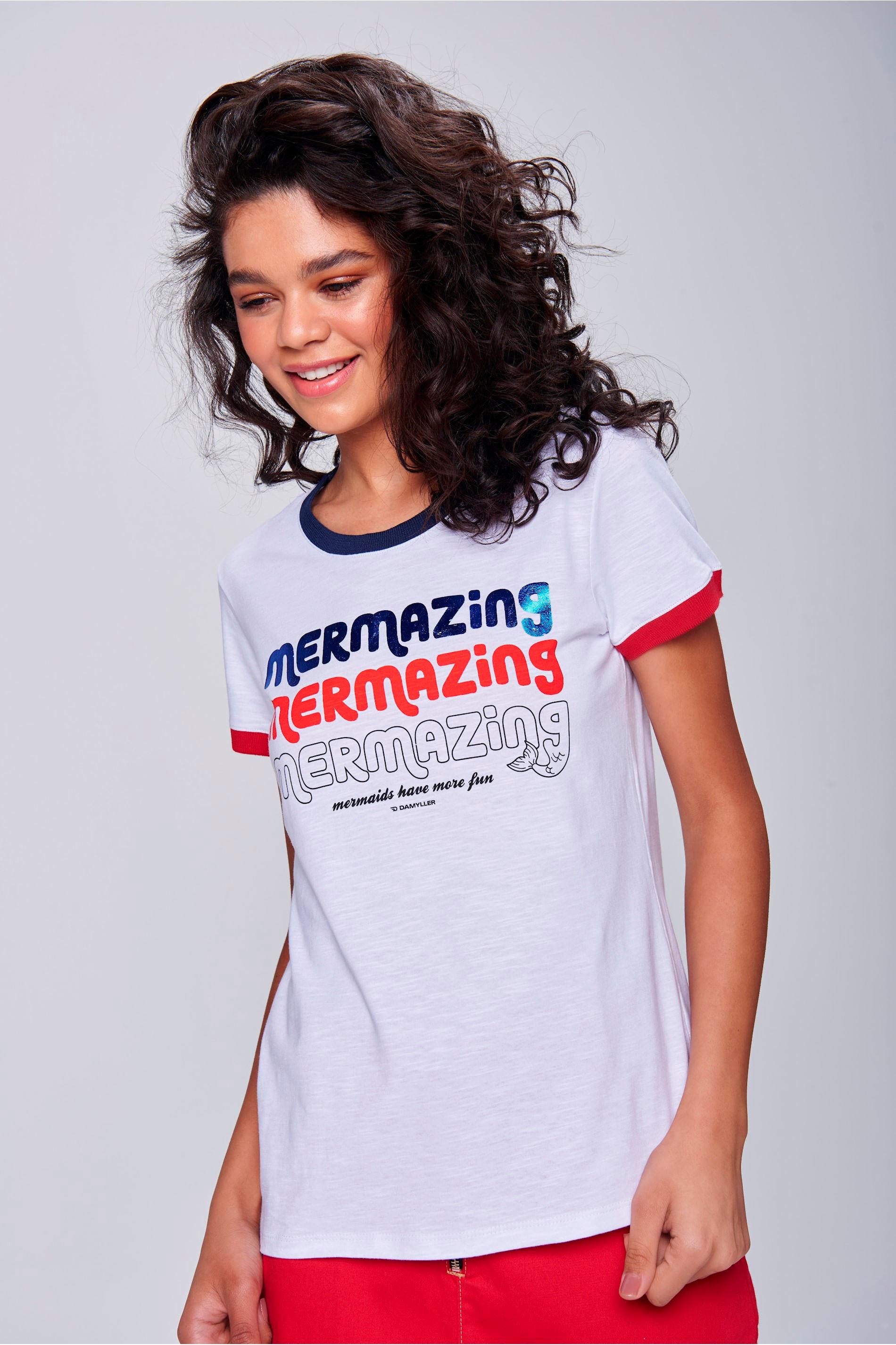 Camiseta Mermaid Com Ribana Feminina - Damyller 84aab0486a935