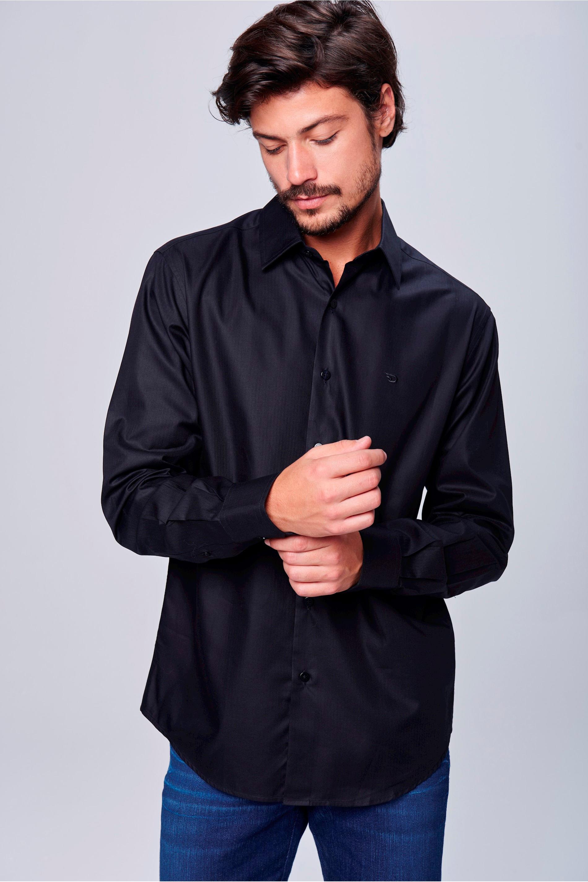 68a18c3bda Camisa Social Preta de Algodão Peruano - Damyller