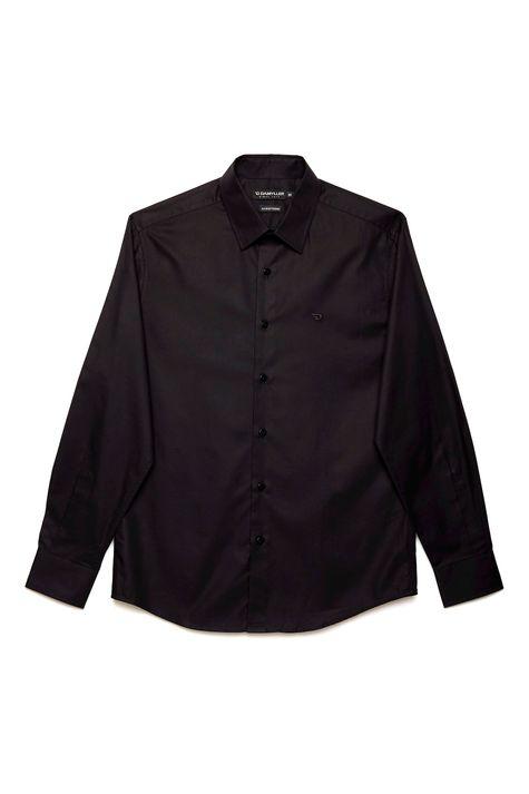 Camisa-Social-Preta-de-Algodao-Peruano-Frente--