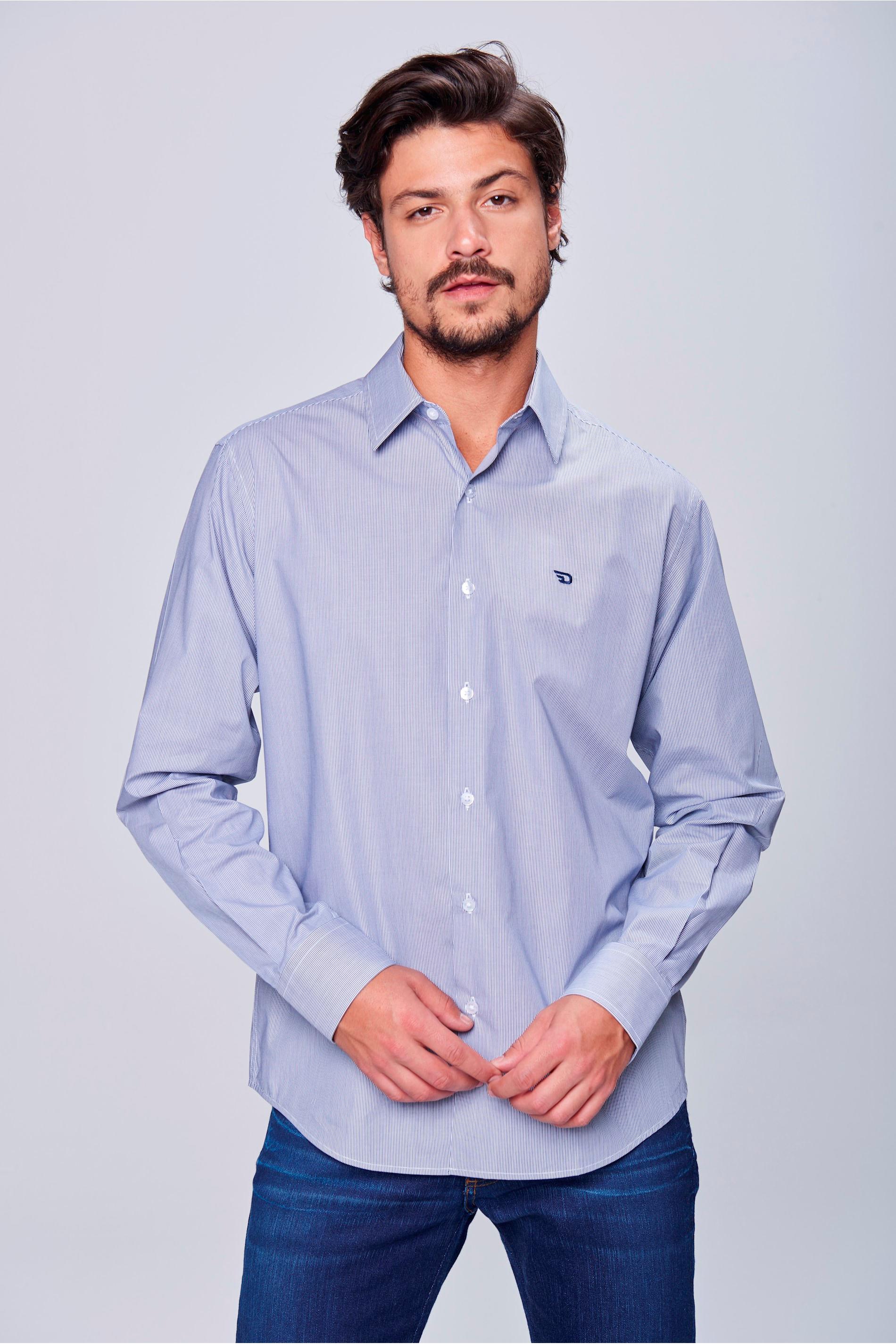 040ff6732a Camisa Social Listrada Algodão Peruano - Damyller
