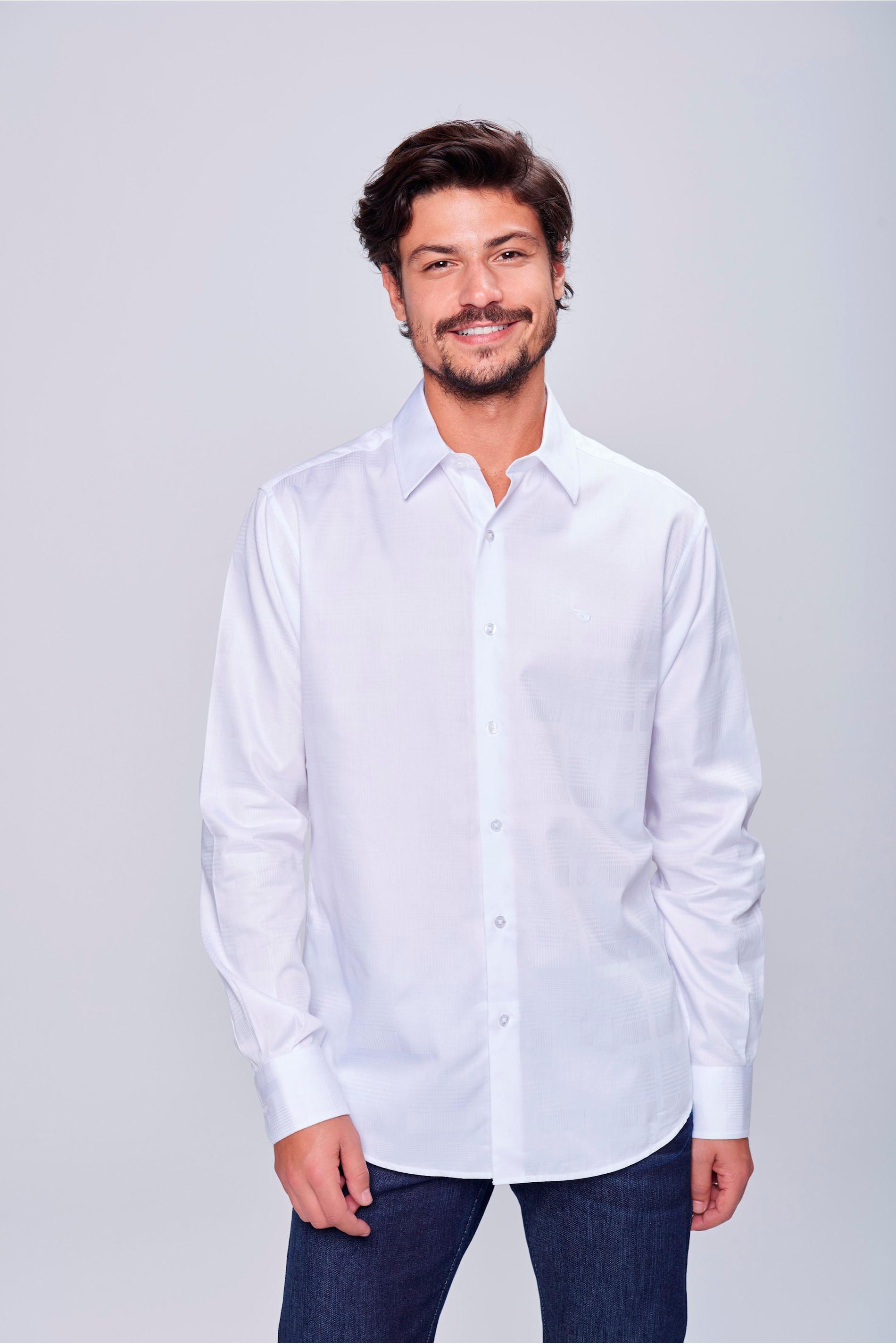 Camisa Social Branca de Algodão Peruano - Damyller 186d3c44620fb