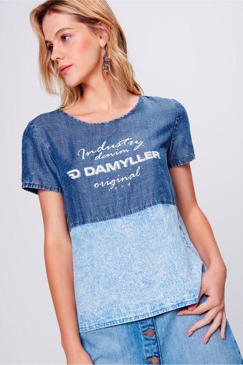 Camiseta-Jeans-com-Recorte-Feminina-Frente--