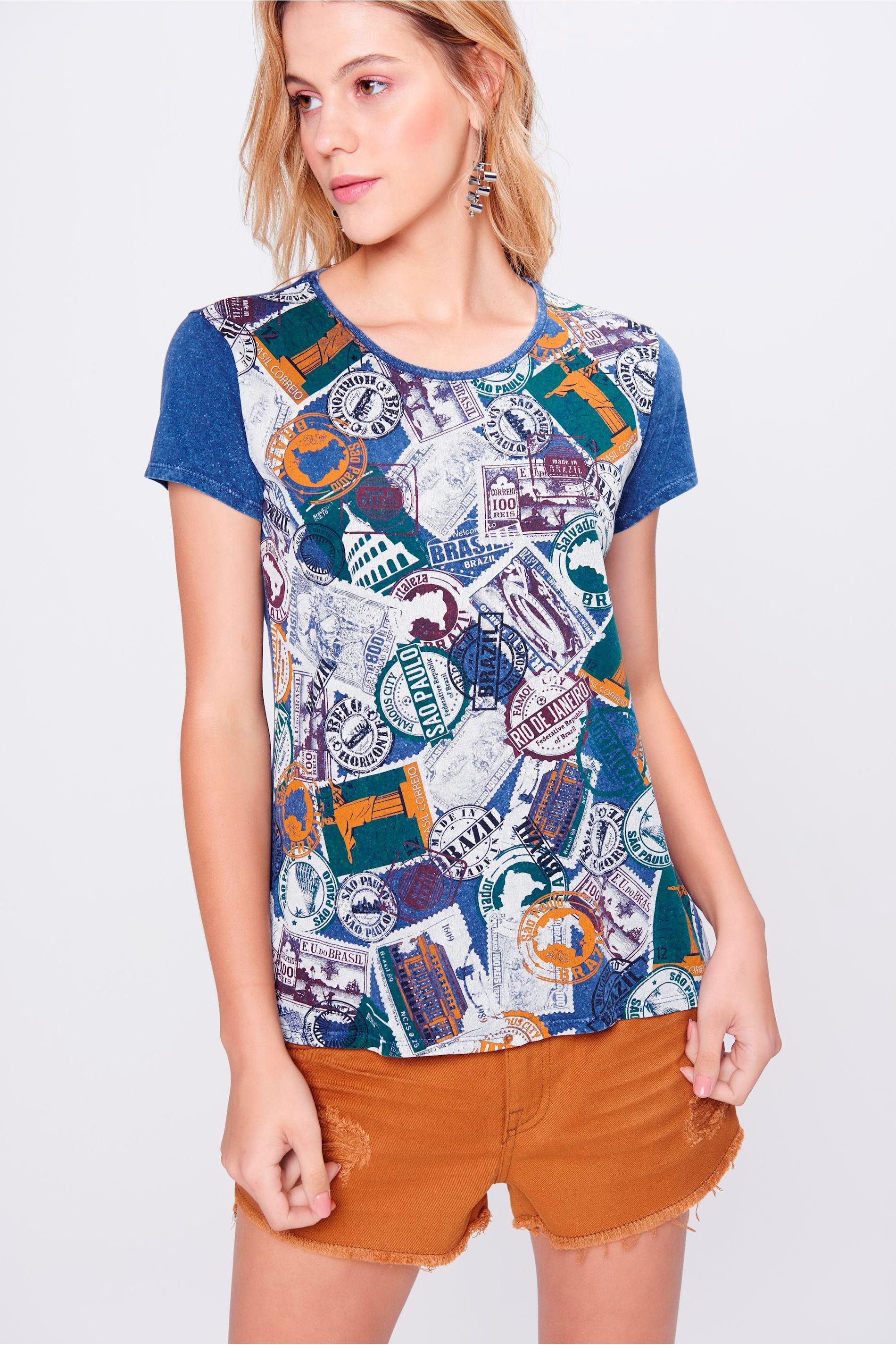 Camiseta com Frente Estampada Feminina - Damyller 46892cddc0d8f