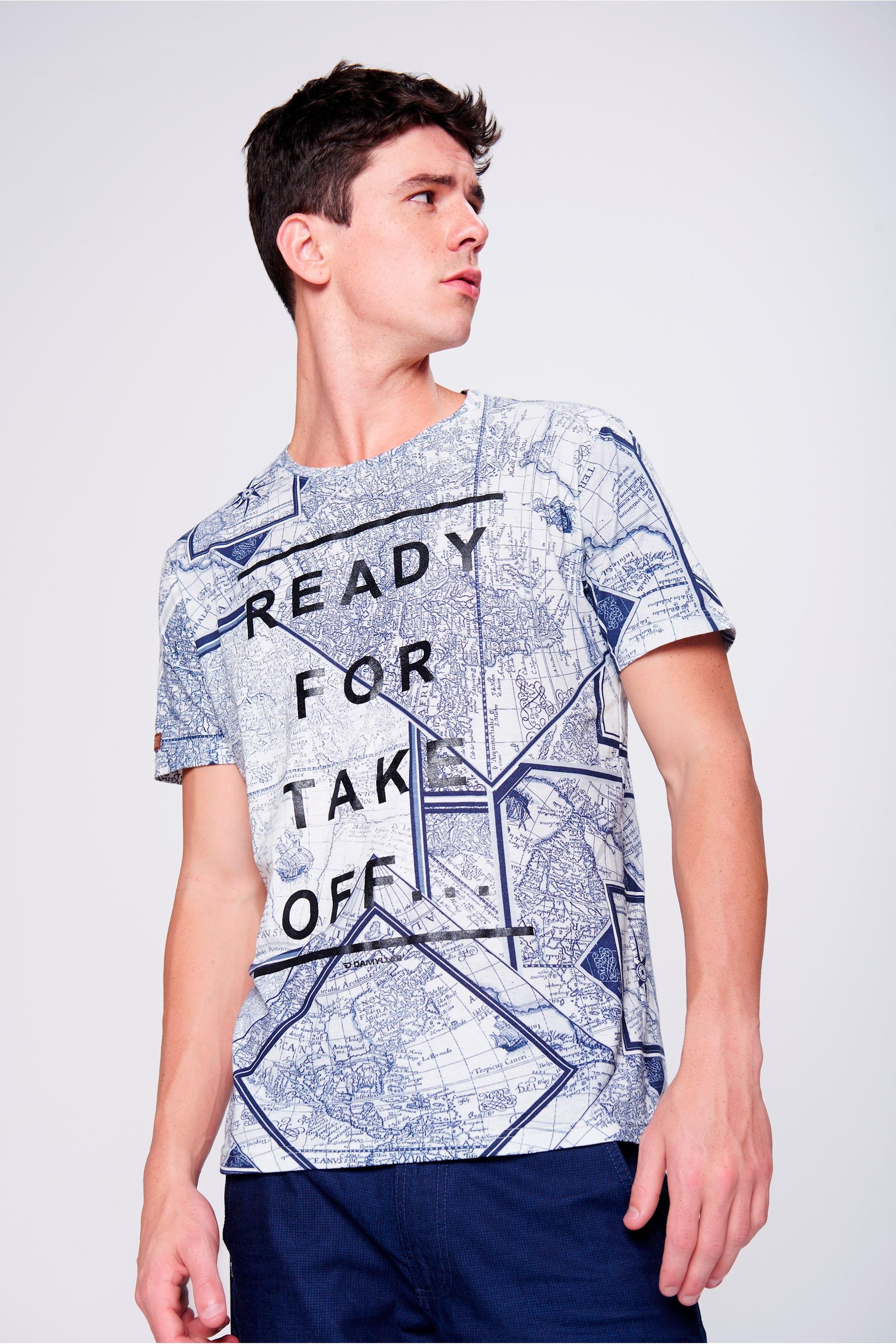 47cb012958 Look Moderno Camiseta Estampada - Damyller