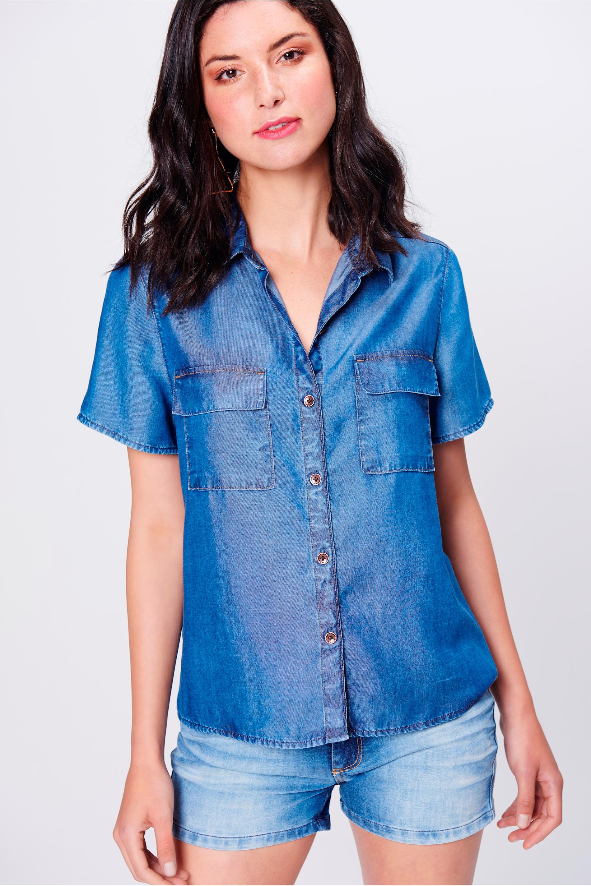 Camisa Jeans de Manga Curta Feminina - Damyller 1ed1d1b8c6ebd
