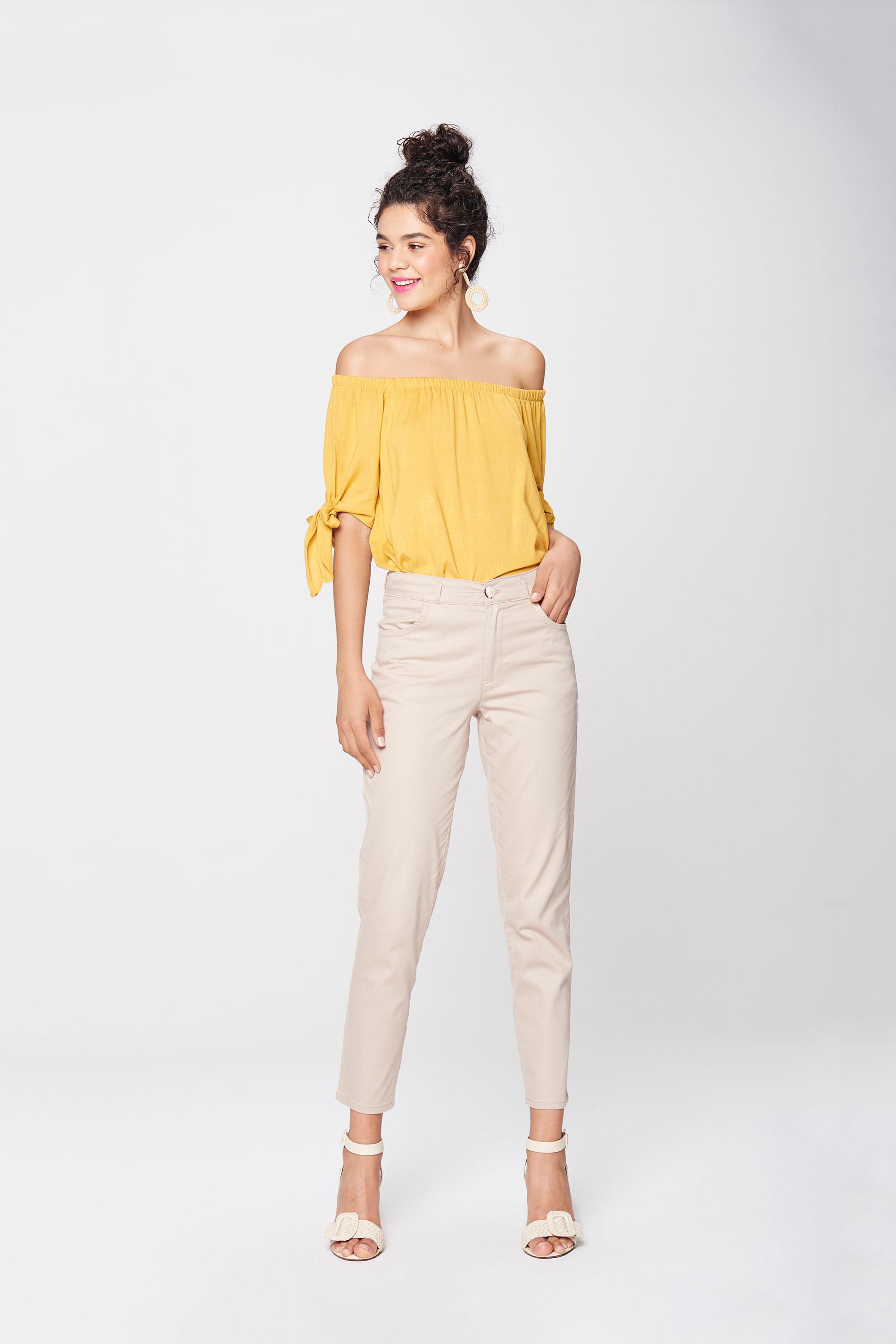 Calça Chino Cropped Color Feminina - Damyller 967ccabb280