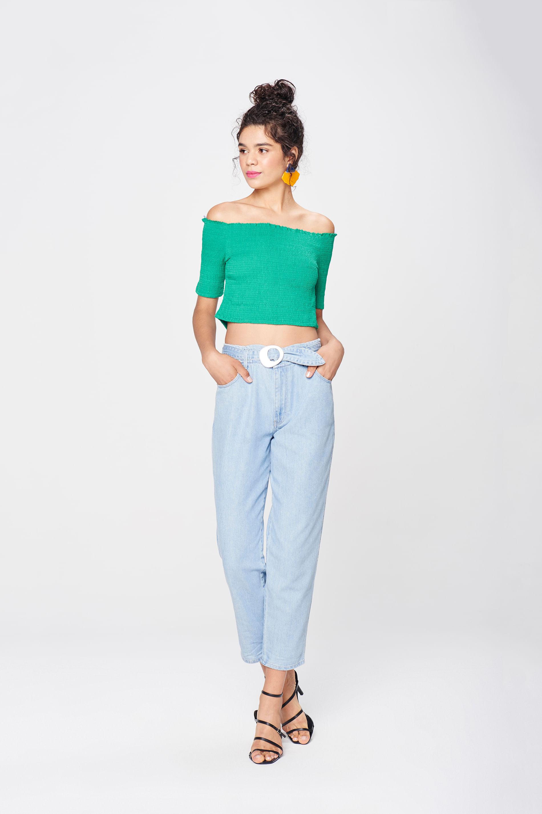770242e38f Calça Jeans Clochard Cropped Feminina - Damyller