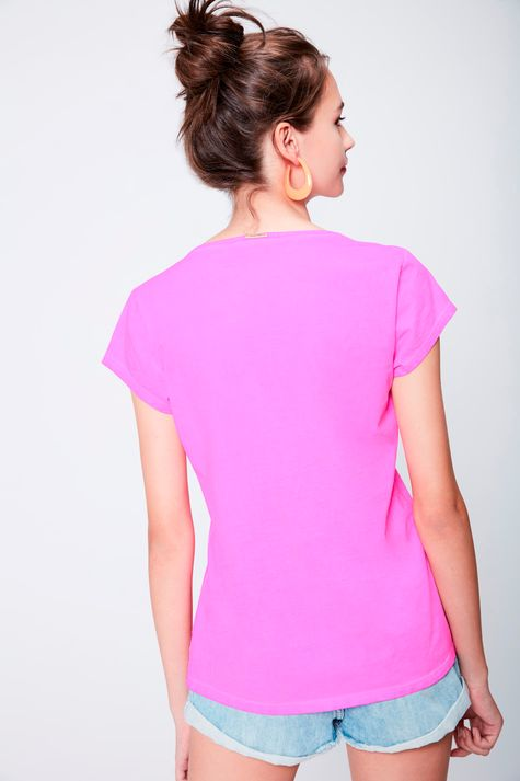 Camiseta-Neon-Decote-V-Feminina-Costas--
