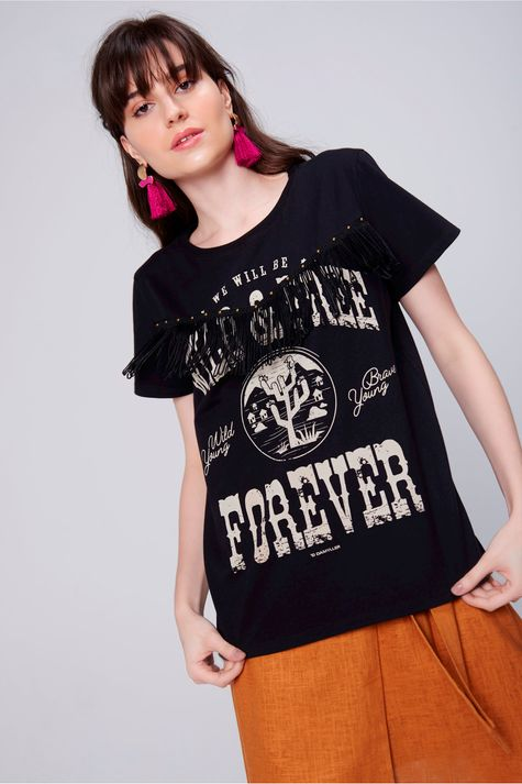 Camiseta-Estampada-com-Franja-Feminina-Frente--