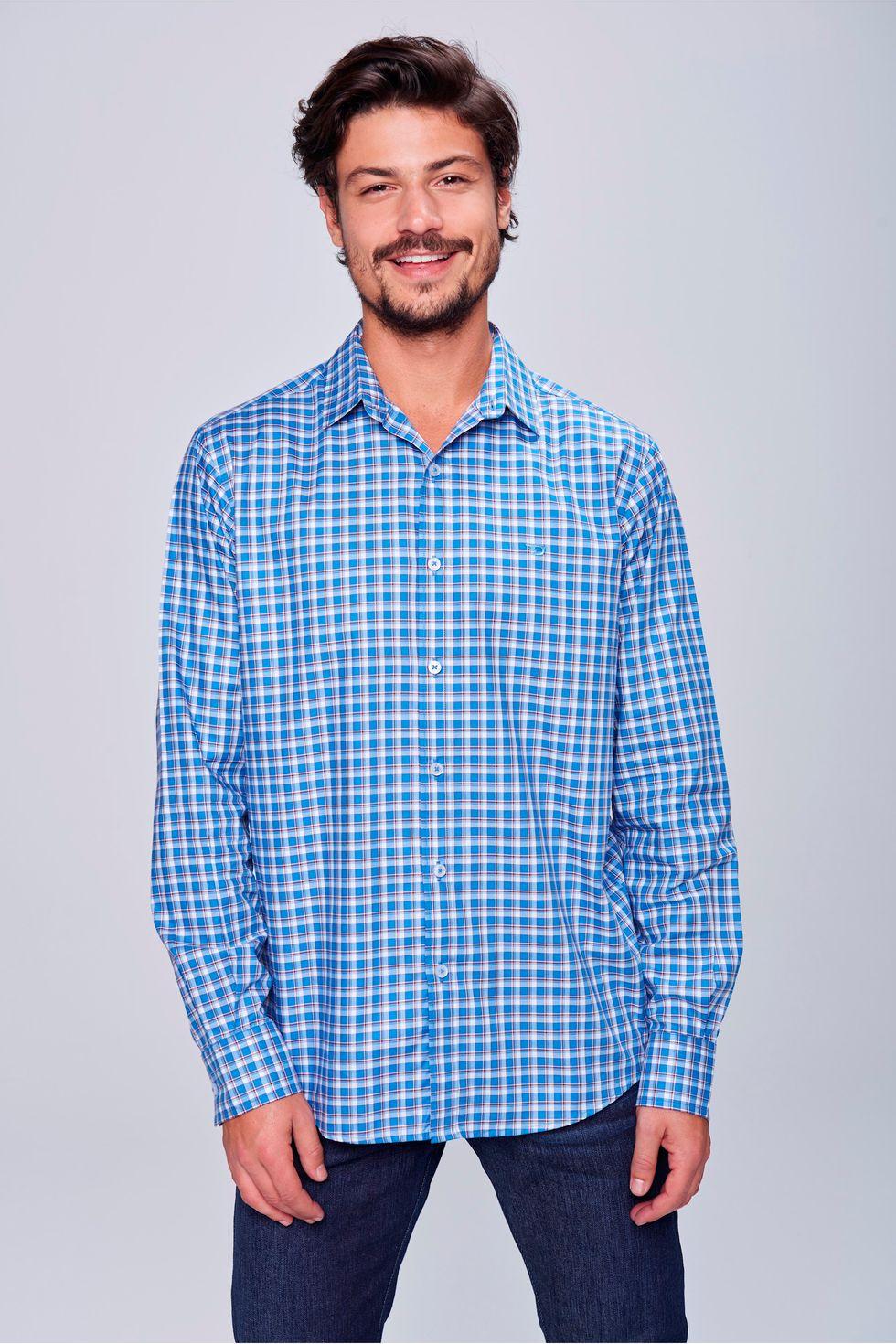 Camisa-Social-Xadrez-de-Algodao-Peruano-Frente--