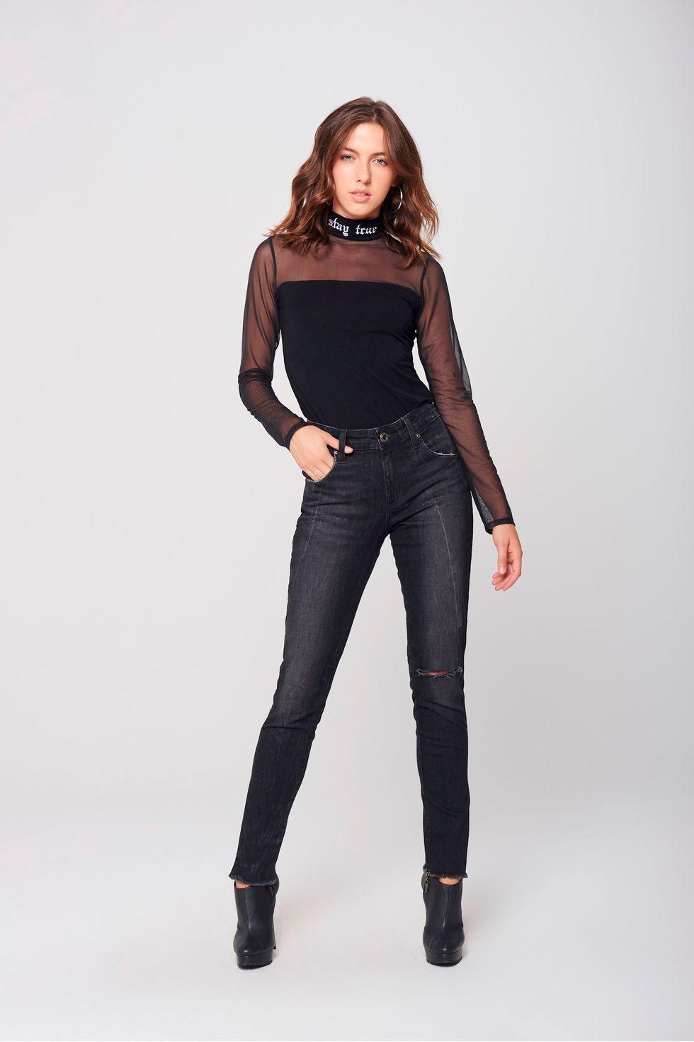 Calca-Cigarrete-Jeans-Destroyed-Black-Frente--