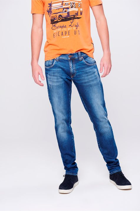 Calca-Skinny-Jeans-com-Puidos-Masculina-Frente-1--