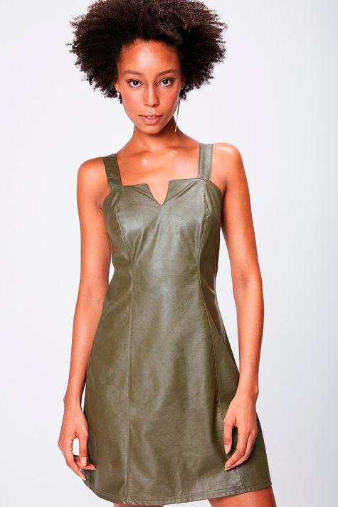 Vestido Verde-Militar-Resinado-Frente--