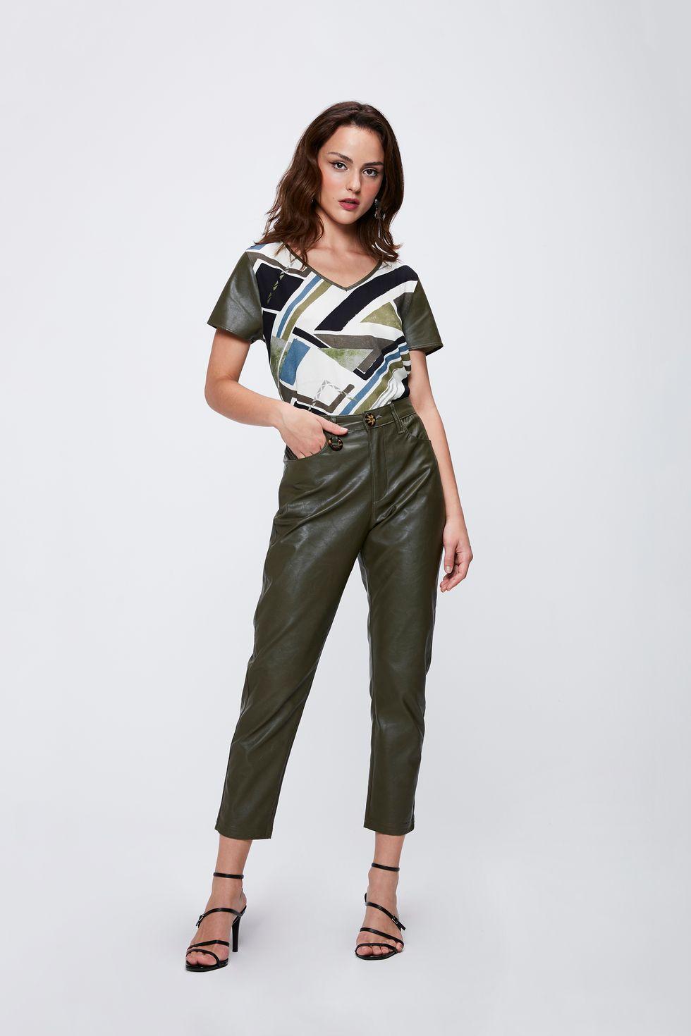 Calca-Verde-Militar-Resinada-Feminina-Frente--