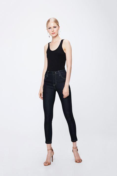 Calca-Jeans-Escuro-com-Cintura-Alta-Frente--
