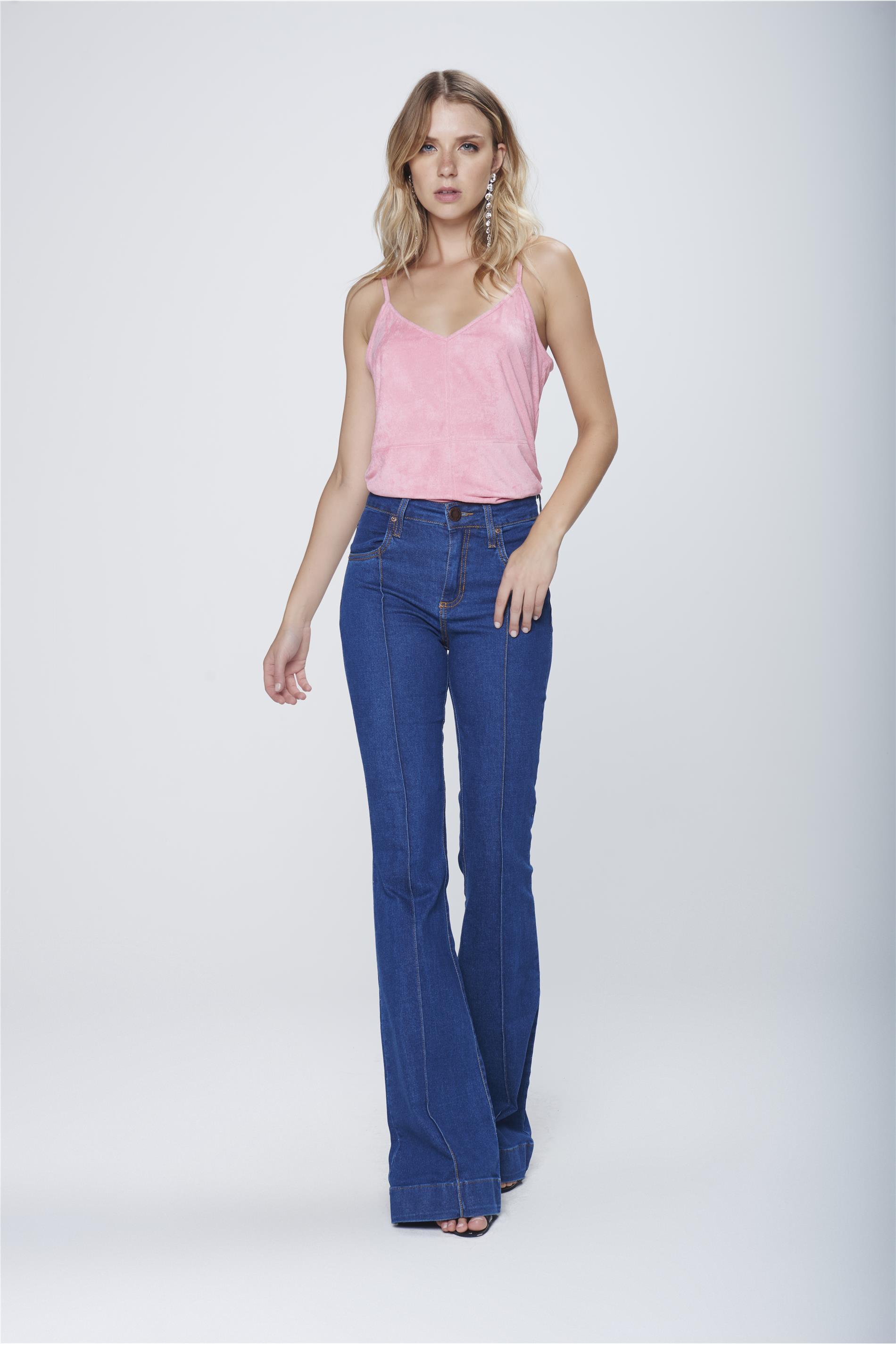 309f3e230 Calça Flare Jeans Cintura Alta Feminina - Damyller
