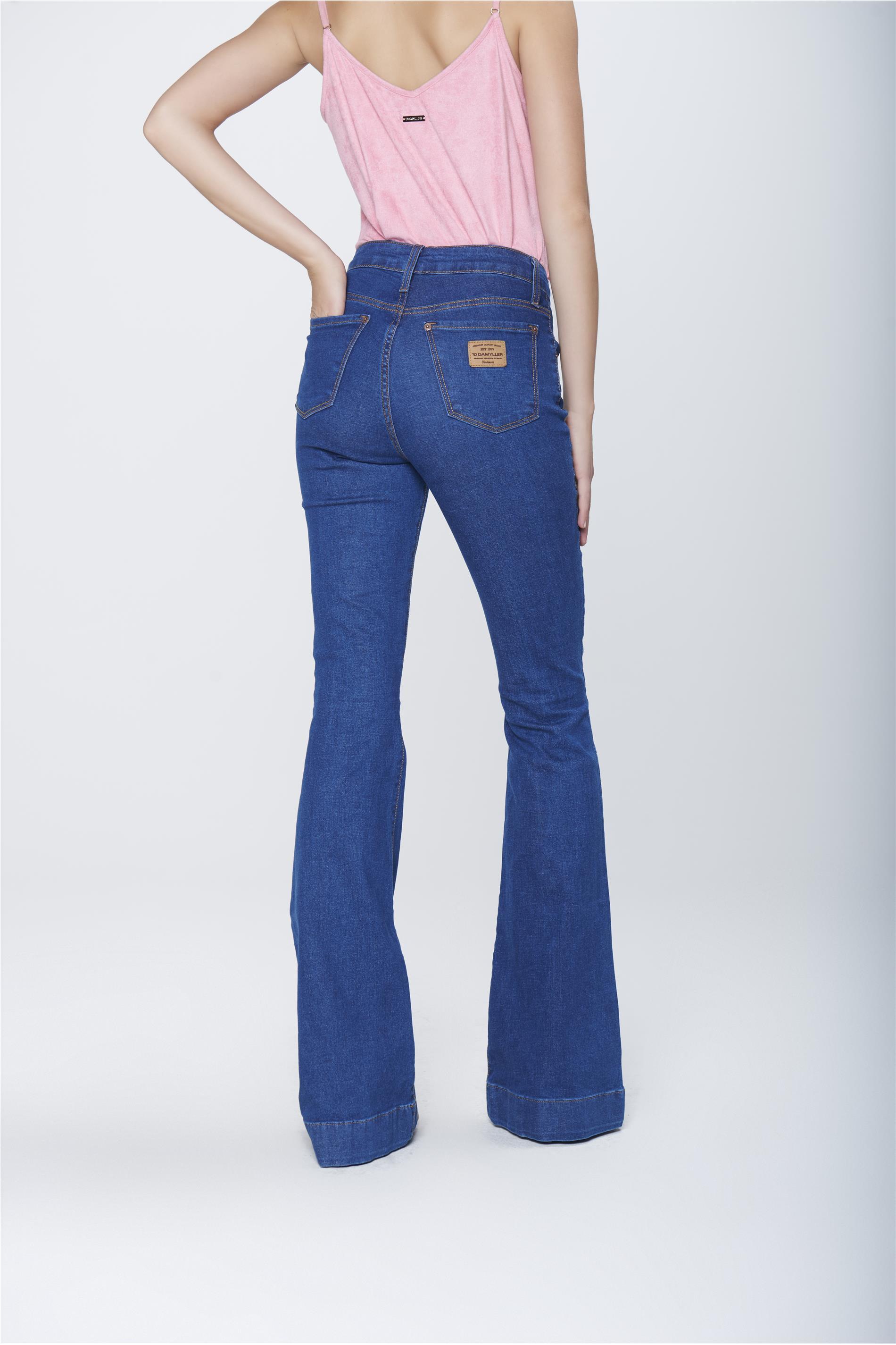 aa09235ce Calça Flare Jeans Cintura Alta Feminina - Damyller