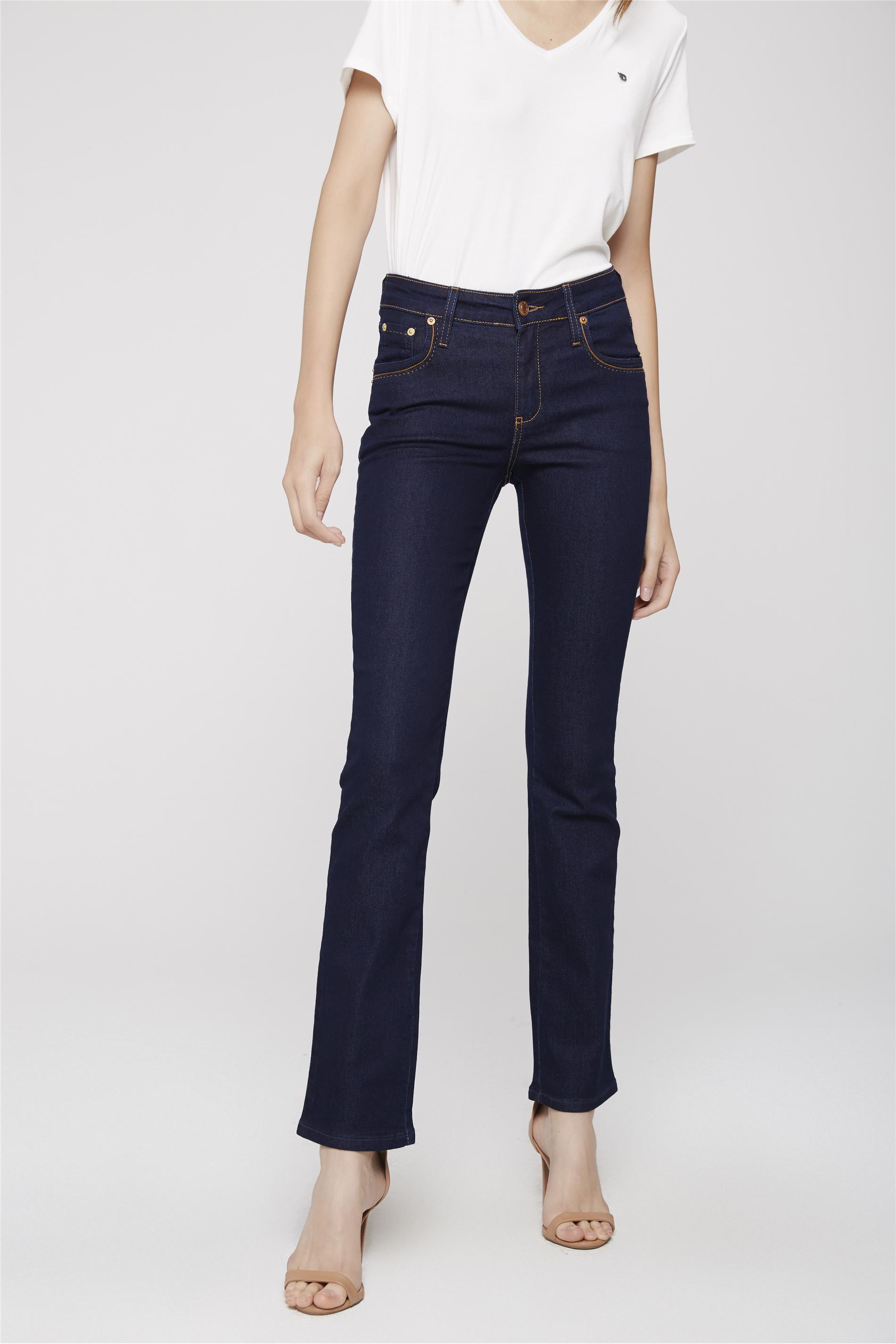 44cec092ec Calça Jeans Reta de Cintura Alta - Damyller