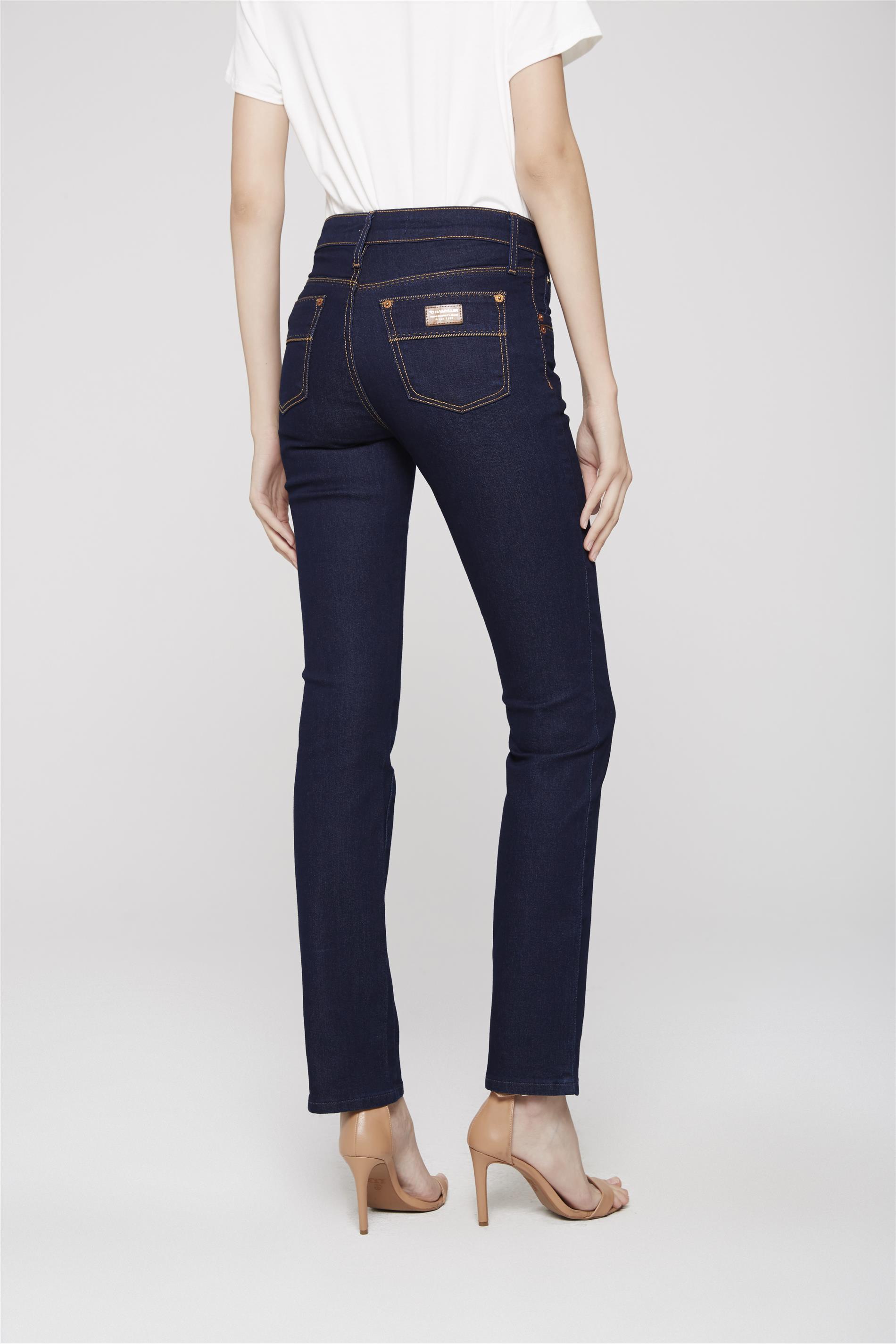 2bb2a720d Calça Jeans Reta de Cintura Alta - Damyller