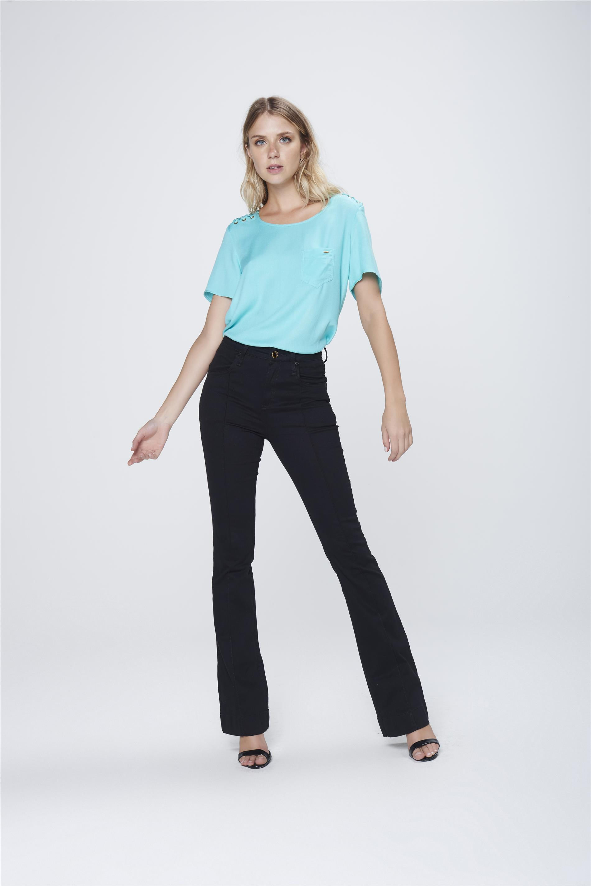 23615a37f Calça Boot Cut Jeans Preta Cintura Alta - Damyller