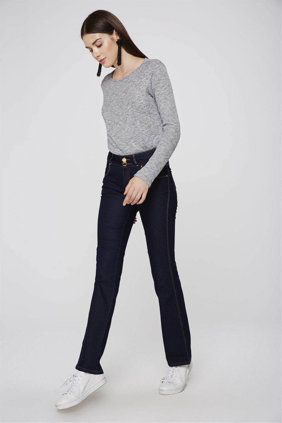 Calca-Jeans-Reta-Cos-Largo-Cintura-Alta-Frente--